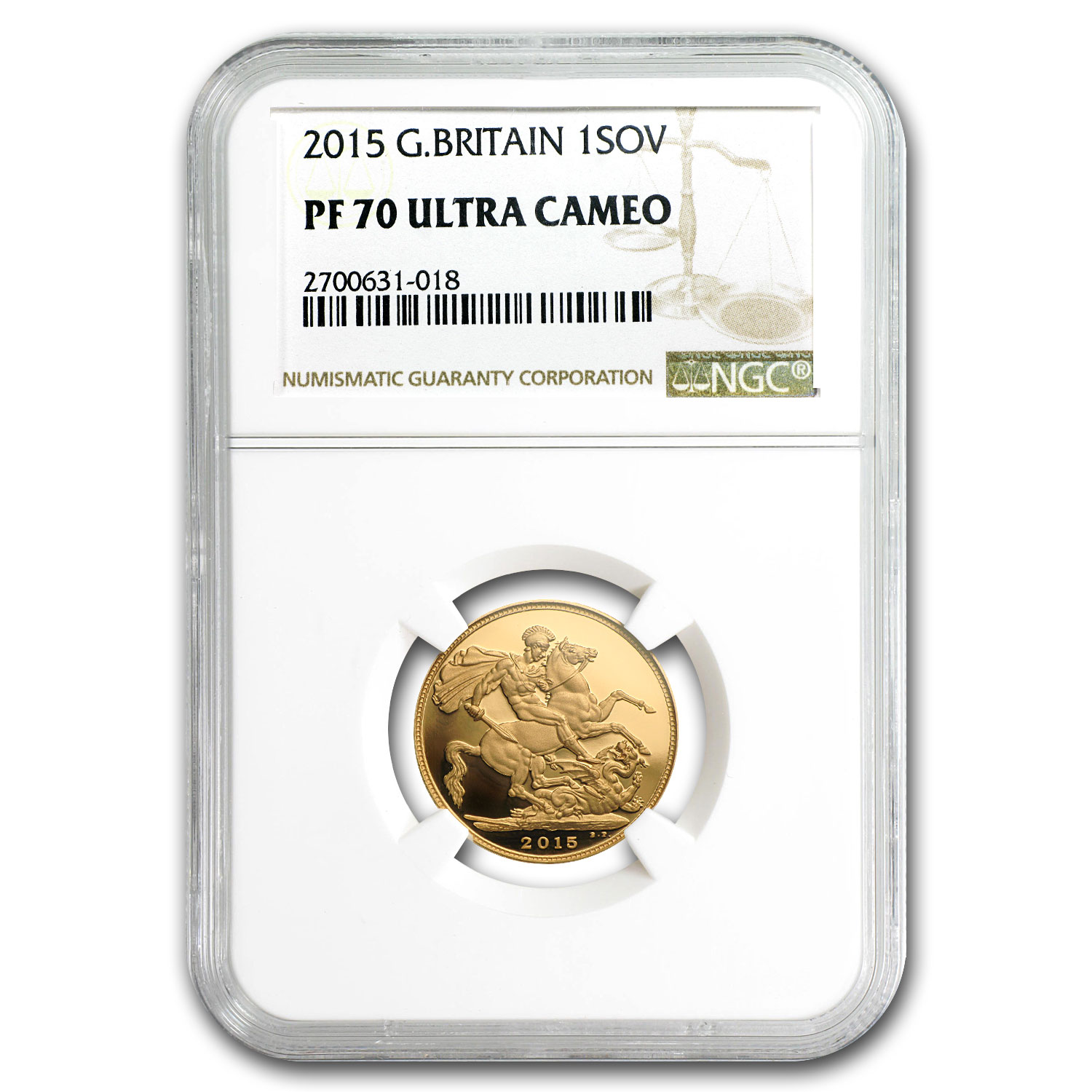2015 Great Britain Gold Sovereign PF-70 NGC