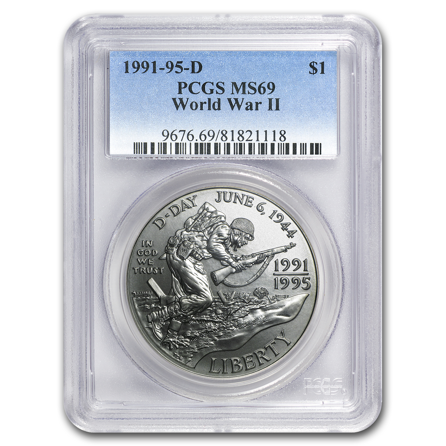 1991-1995-D World War II $1 Silver Commem MS-69 PCGS