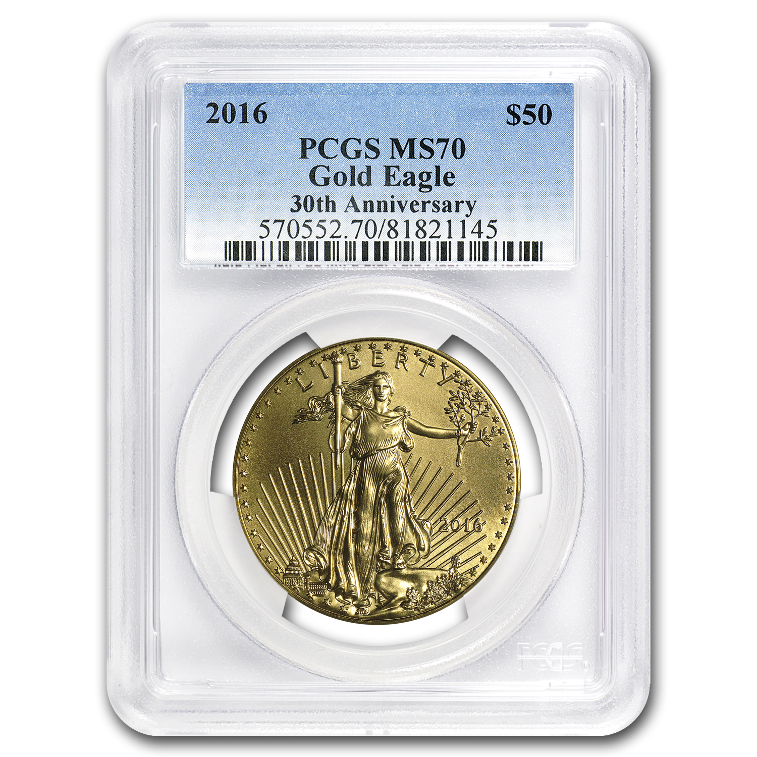 2016 1 oz Gold American Eagle MS-70 PCGS