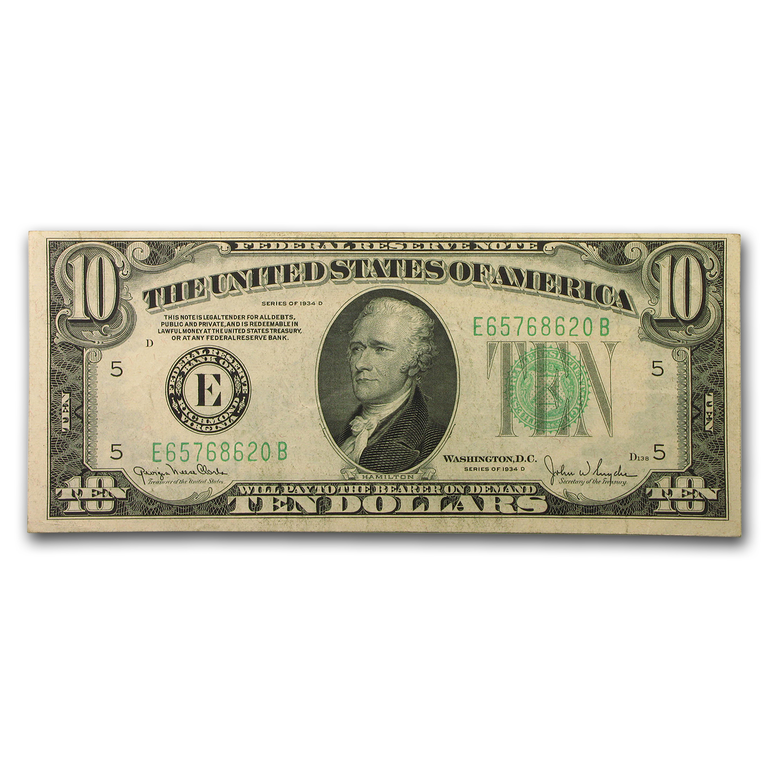 1934-D (E-Richmond) $10 FRN Extremely Fine