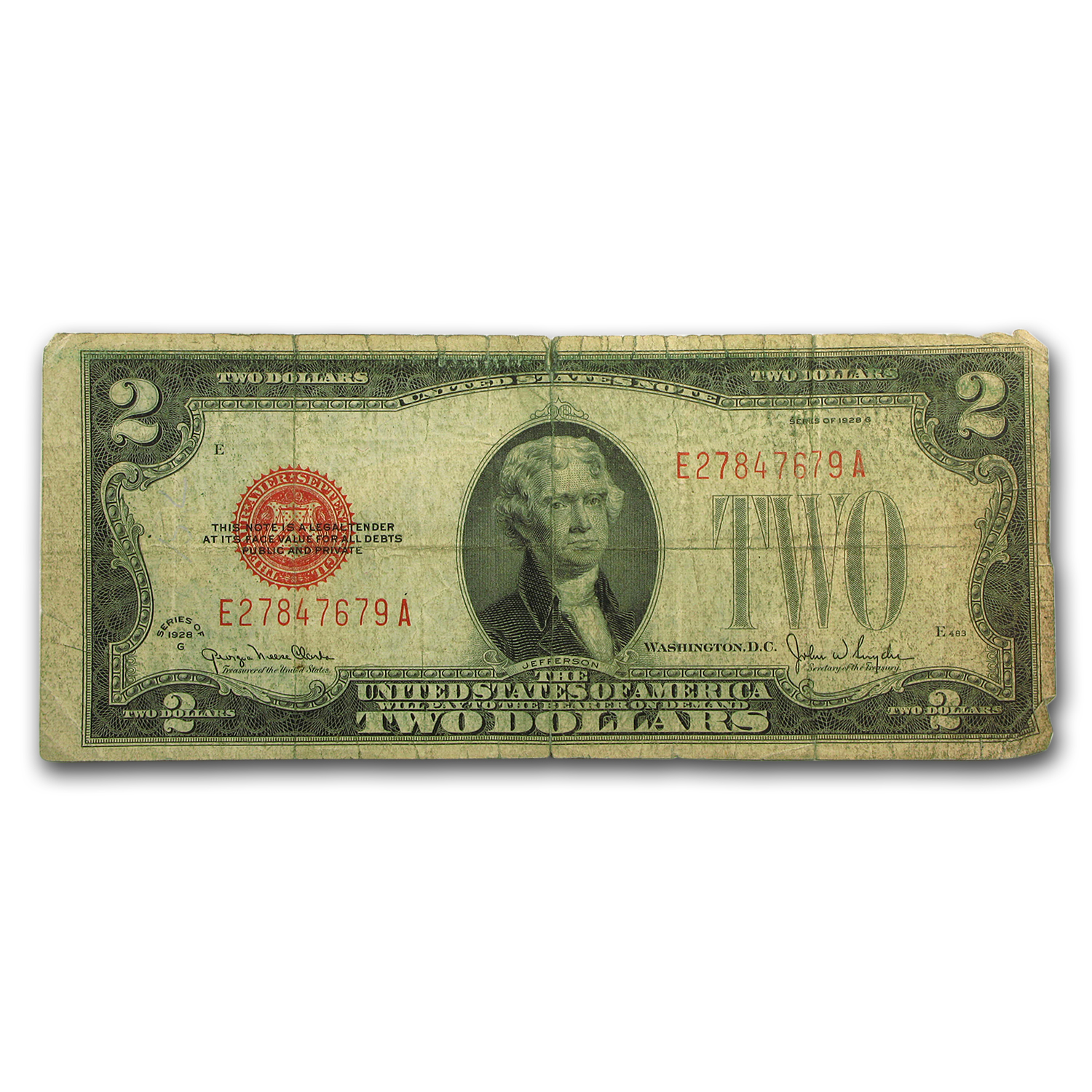 1928-G $2.00 U.S. Note Red Seal VG