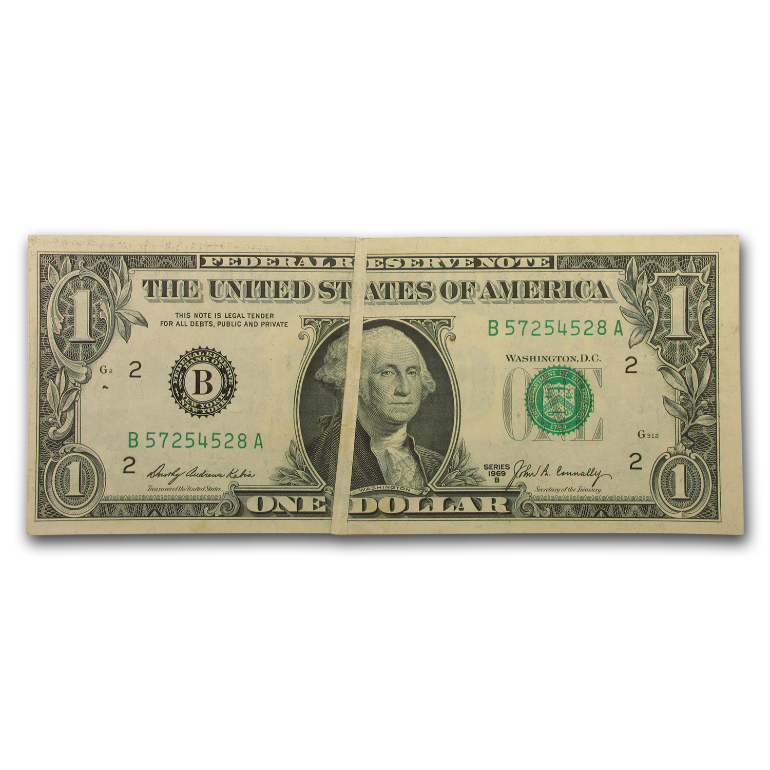 1969-B $1.00 Federal Reserve Note (Gutter Fold Error)