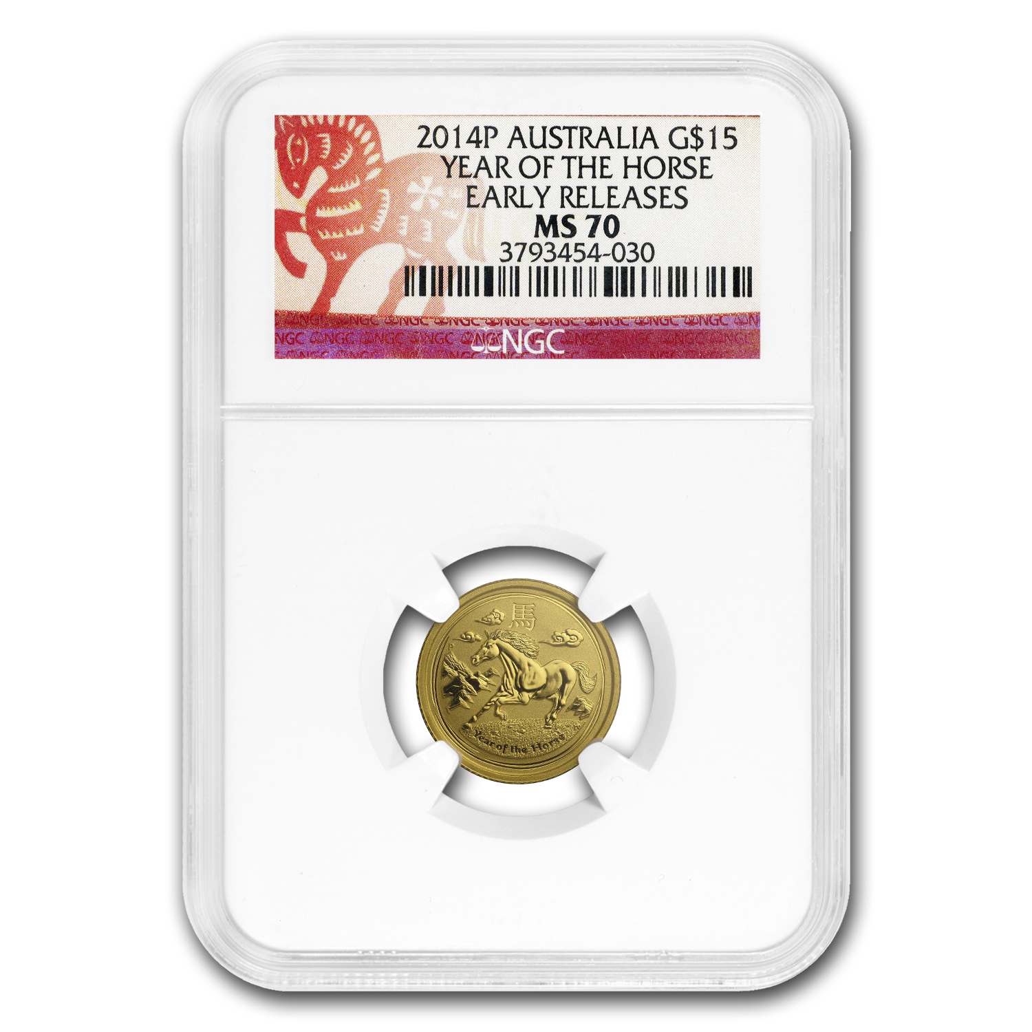2014 1/10 oz Gold Lunar Year of the Horse MS-70 NGC (ER)