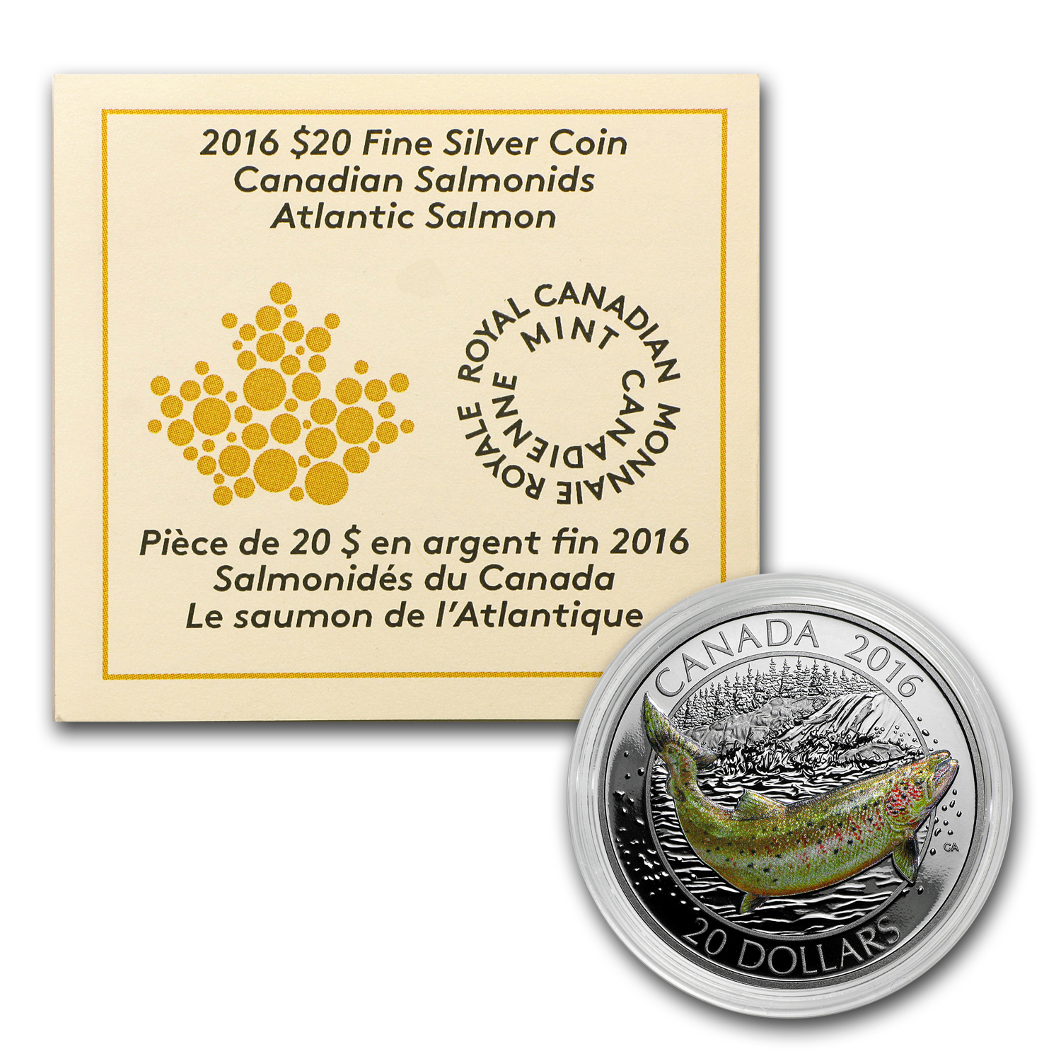 2016 Canada 1 oz Silver $20 Atlantic Salmon (Capsule Only)