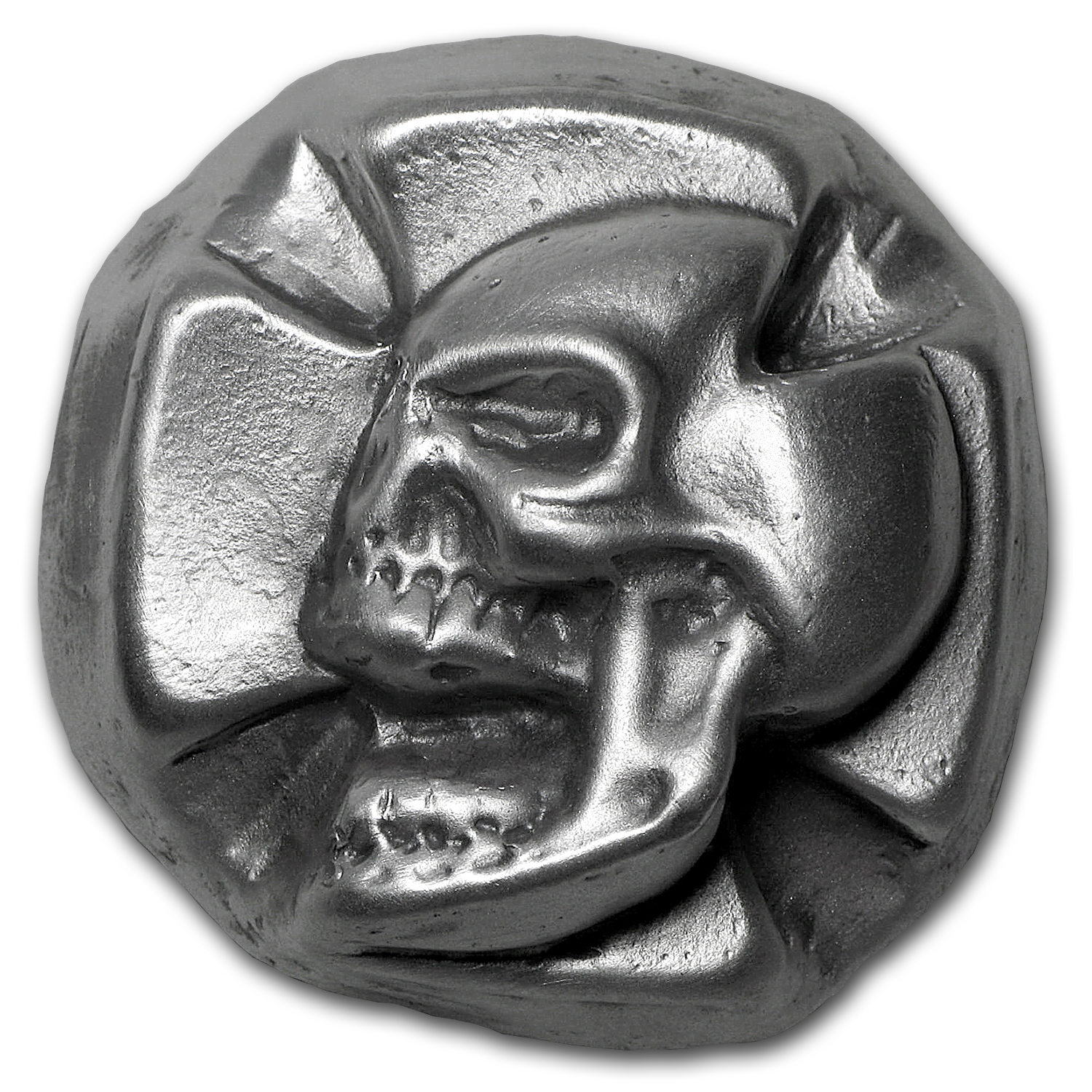 3 oz Silver Iron Cross Skull - Bison Bullion (1st 50 Issued)