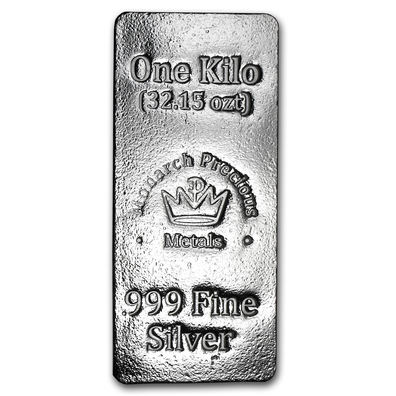 1 Kilo Silver Bar Monarch Precious Metals Monarch