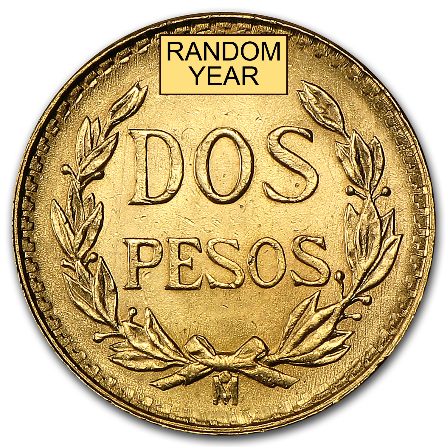 Mexico Gold 2 Pesos AGW .0482 (Random Year)