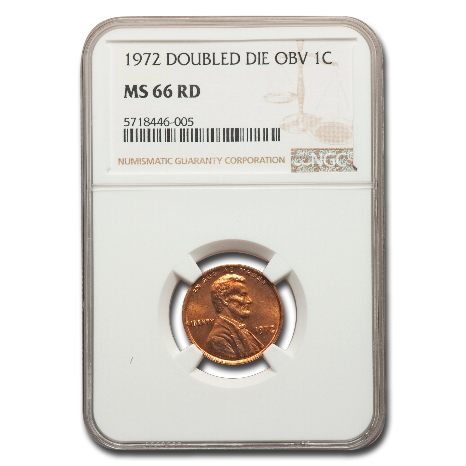 1972 Lincoln Cent Double Die Obverse MS-66 NGC (Red)
