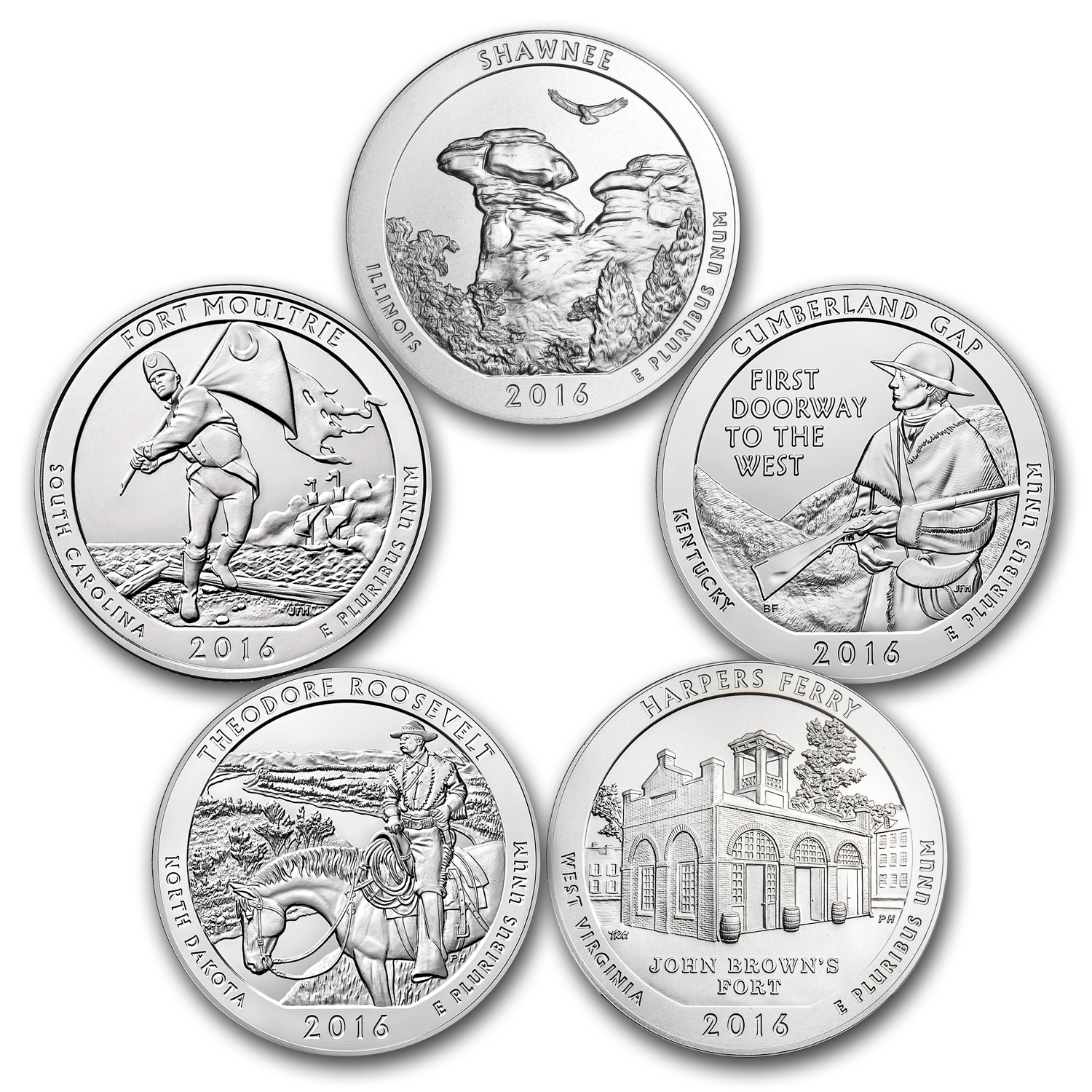 2016 5-Coin 5 oz Silver America the Beautiful Set