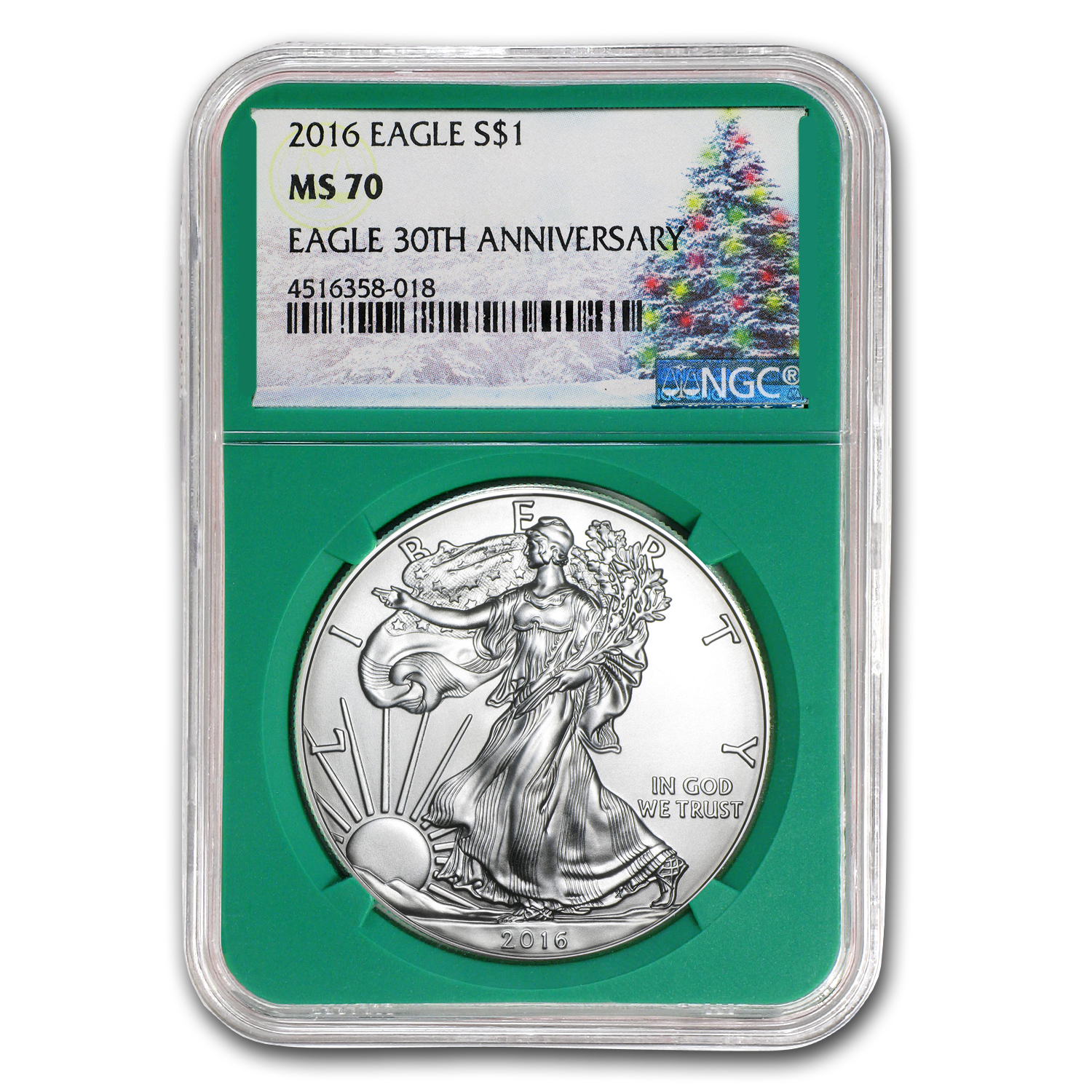 2016 2-Coin 1 oz Silver Eagle Set MS/PF-70 NGC (Christmas Label)
