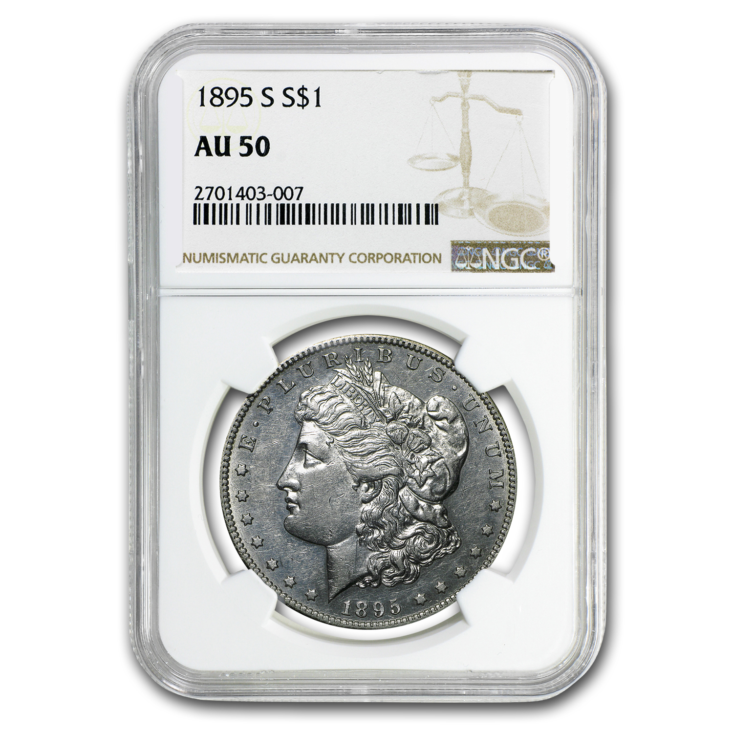 1895-S Morgan Dollar AU-50 NGC