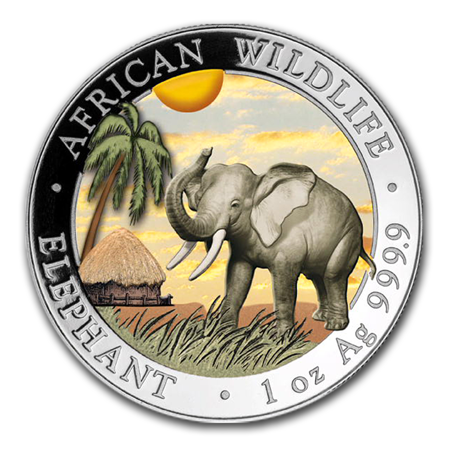 2017 Somalia 1 oz Silver Elephant (Colorized)