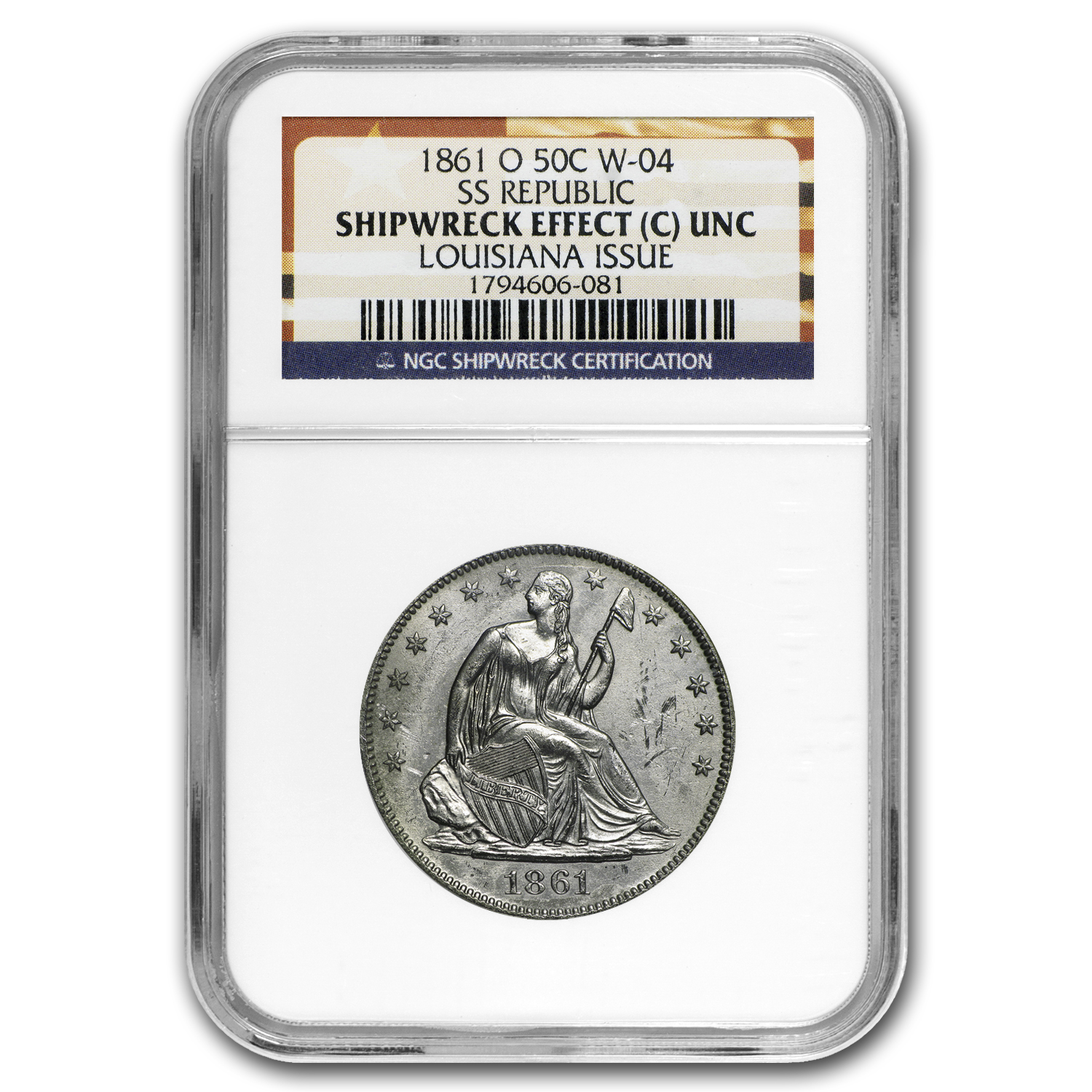 1861-O Liberty Seated Half NGC SS-Republic Shipwreck (3 Coins)