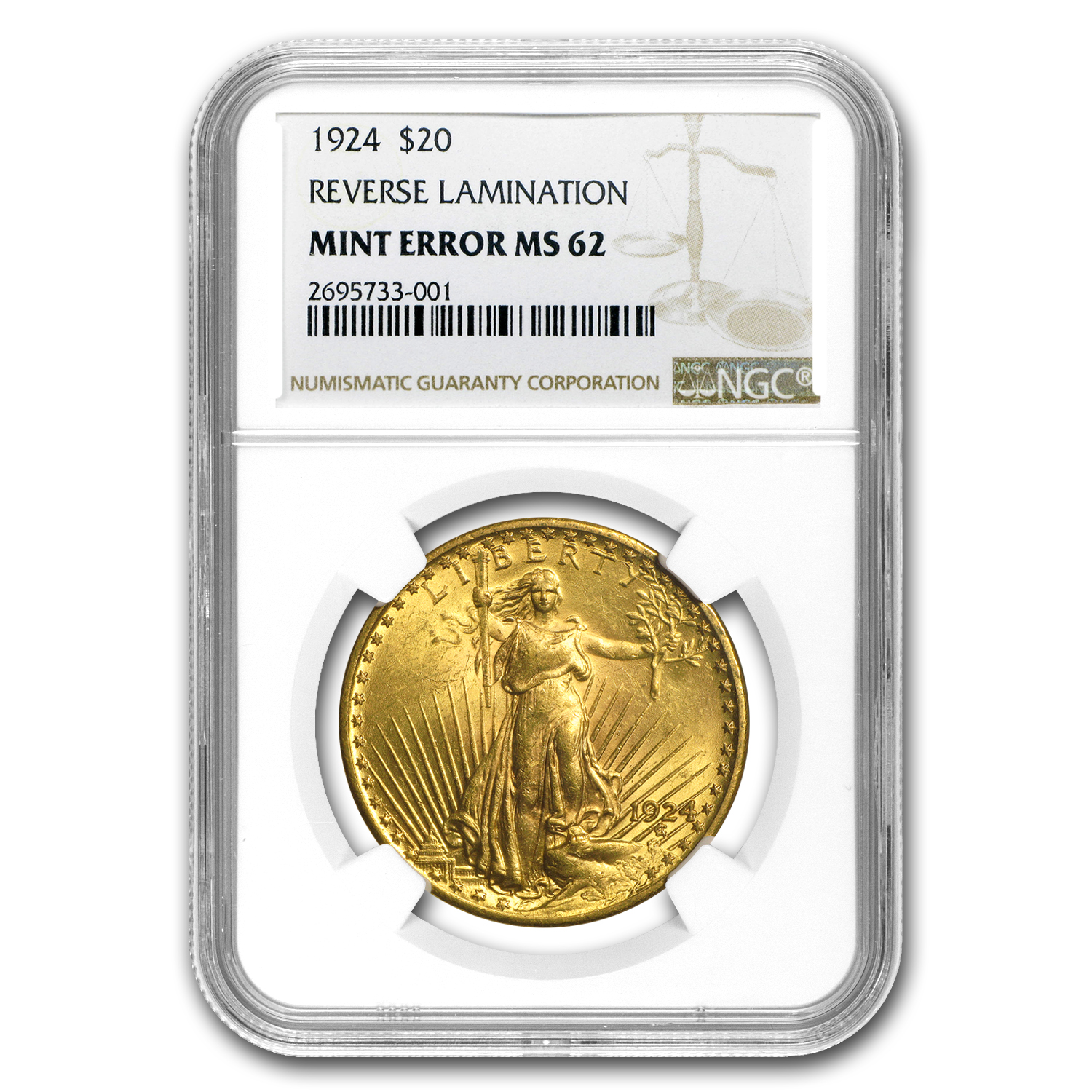 1924 $20 St. Gaudens Gold Double Eagle MS-62 NGC (Strike Thru)