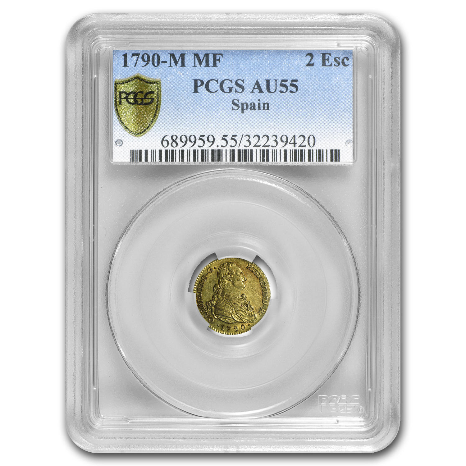 1790-M MF Spain Gold 2 Escudo AU-55 PCGS