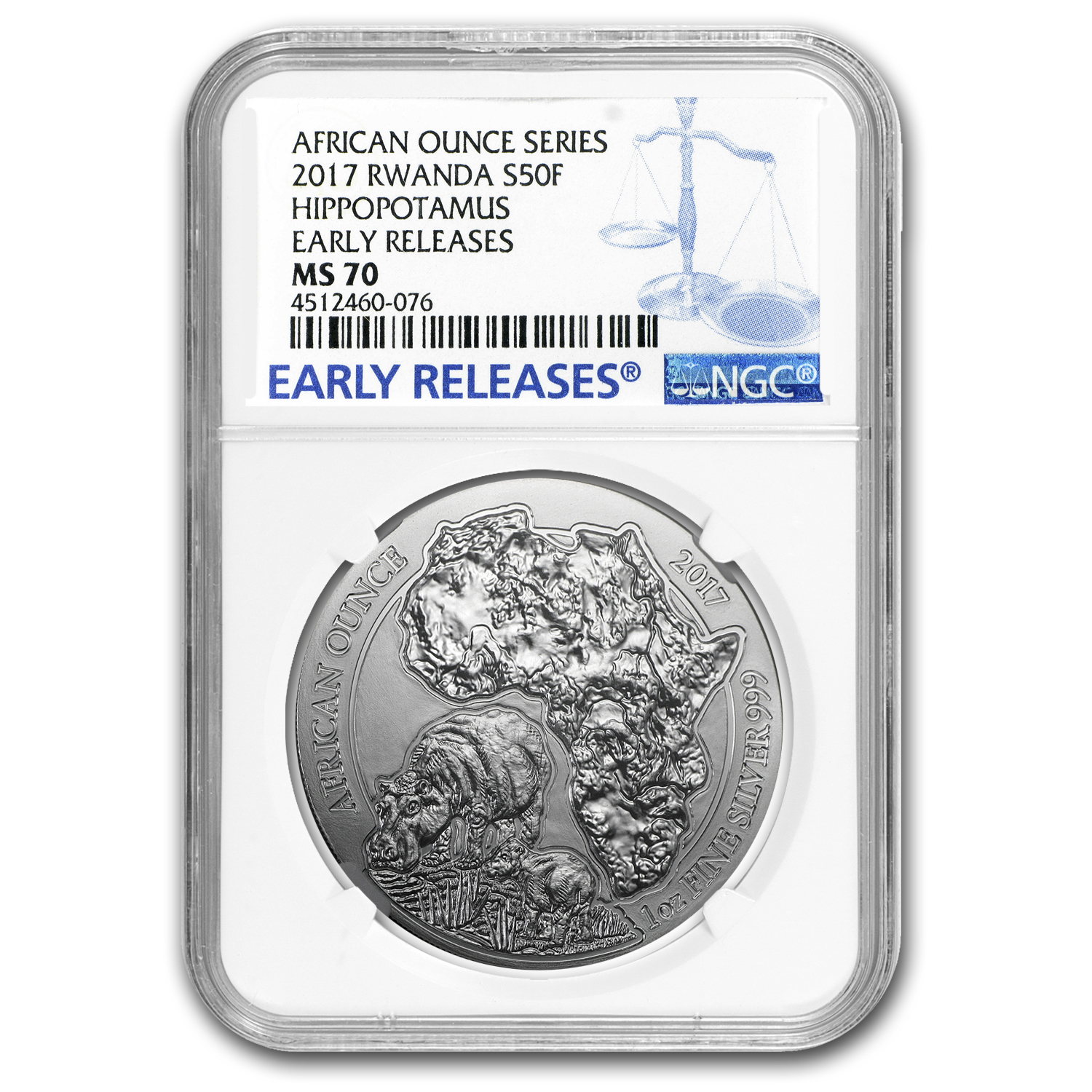 2017 Rwanda 1 oz Silver African Hippo MS-70 NGC (Early Releases)