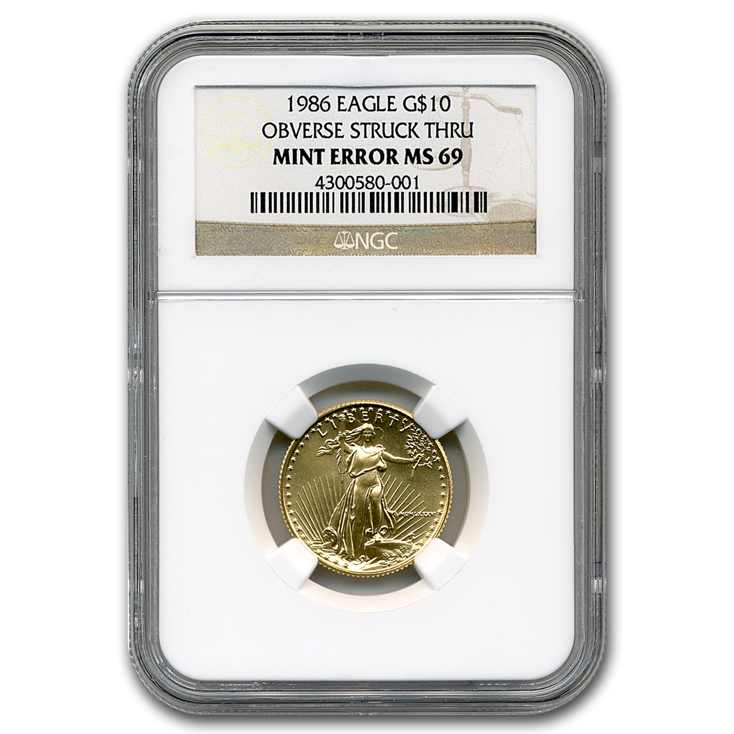 1986 1/4 oz Gold American Eagle MS-69 NGC (Obv Mint Error)