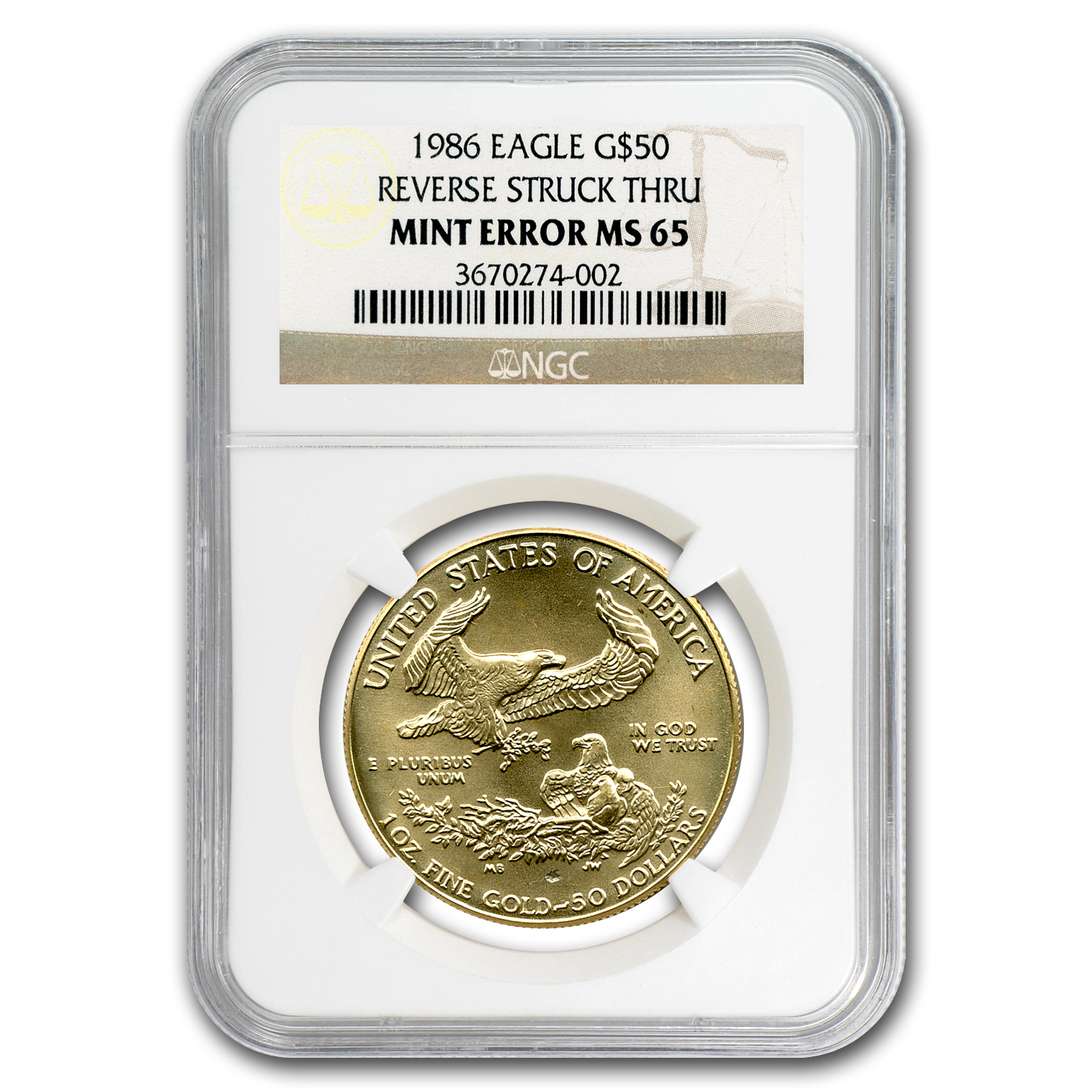 1986 1 oz Gold American Eagle MS-65 NGC (Rev Mint Error)