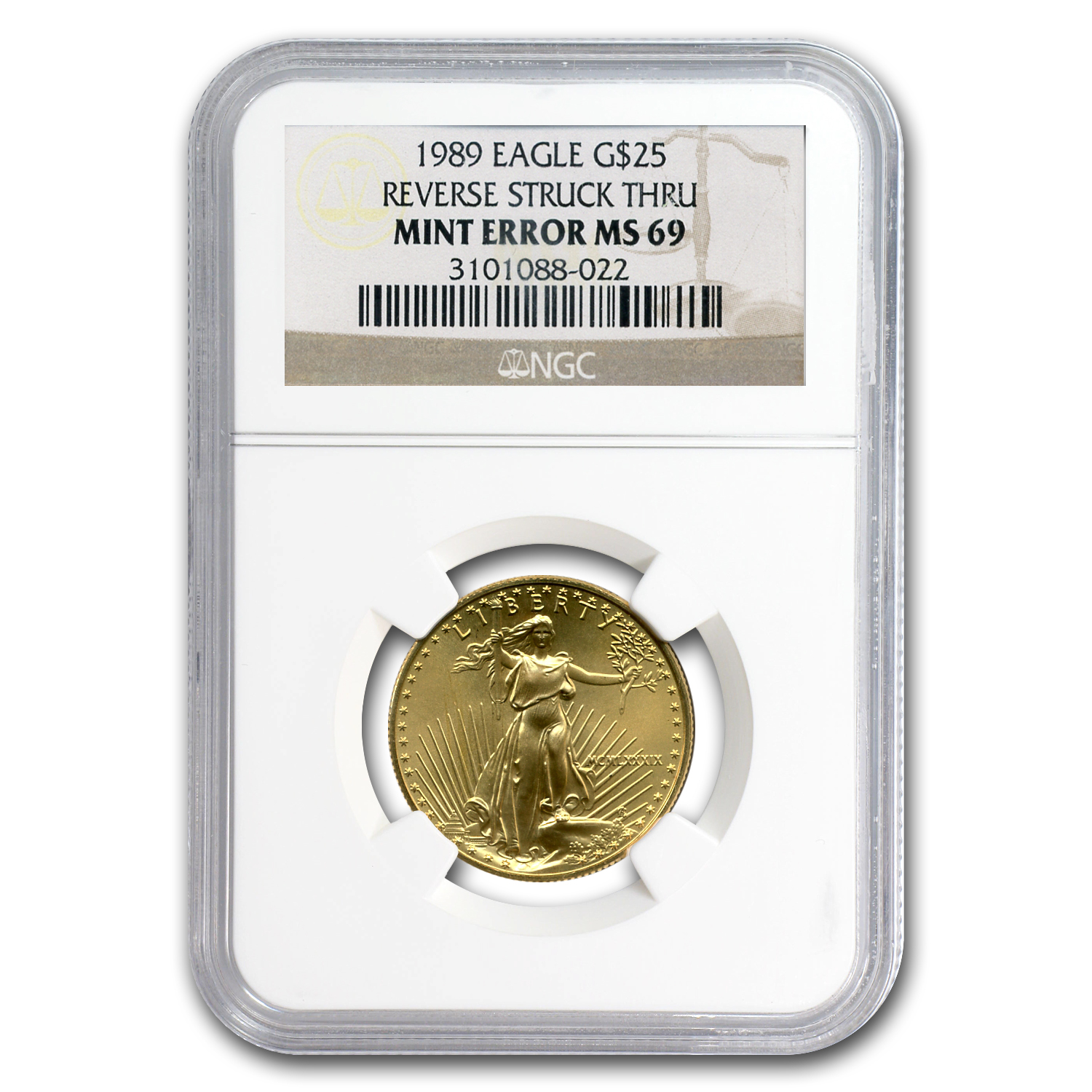 1989 1/2 oz Gold American Eagle MS-69 NGC (Rev Mint Error)
