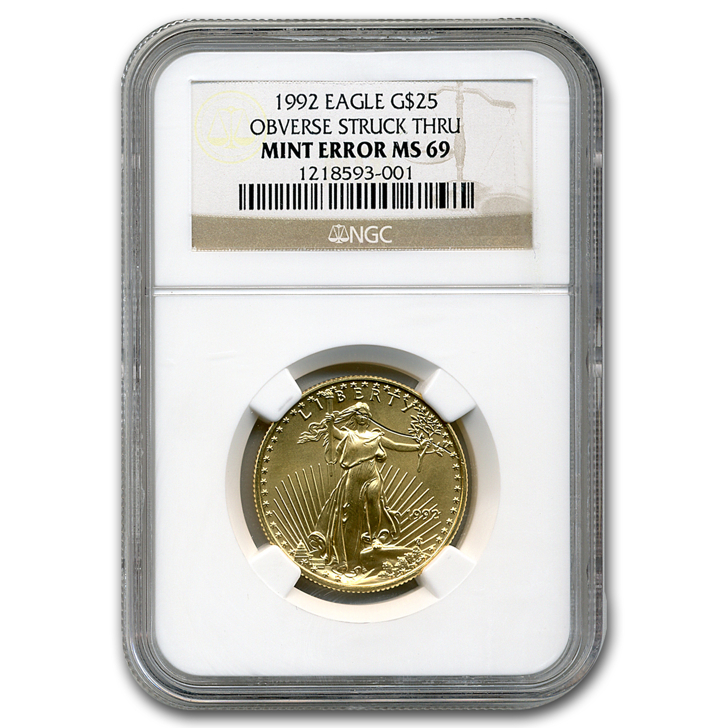 1992 1/2 oz Gold American Eagle MS-69 NGC (Obv Mint Error)