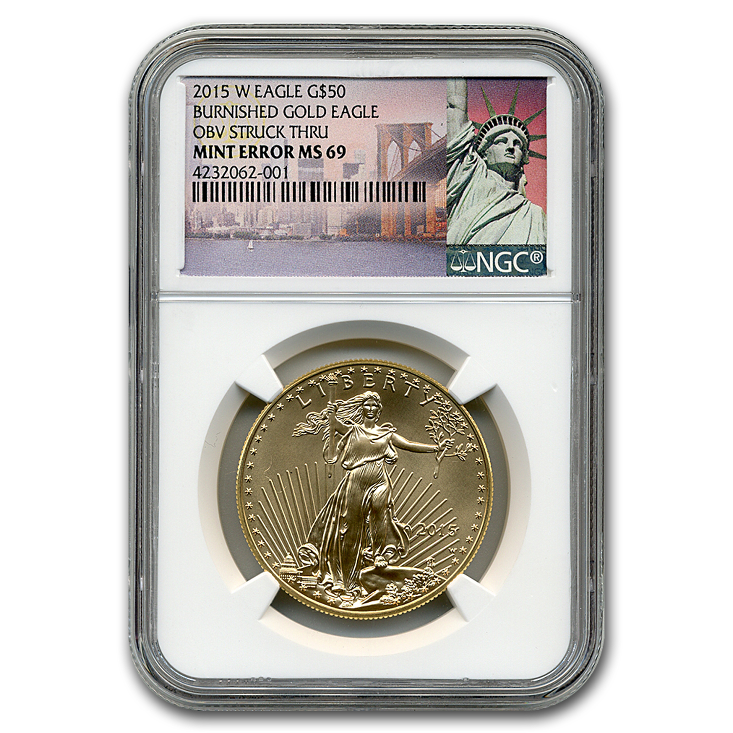 2015-W 1 oz Burnished Gold Eagle MS-69 NGC (Obv Mint Error)
