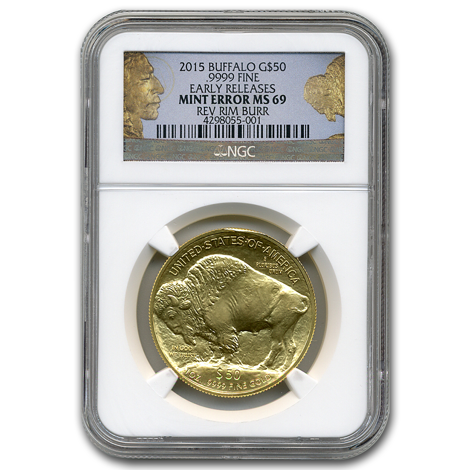 2015 1 oz Gold Buffalo MS-69 NGC (ER, Rev Rim Burr Error)
