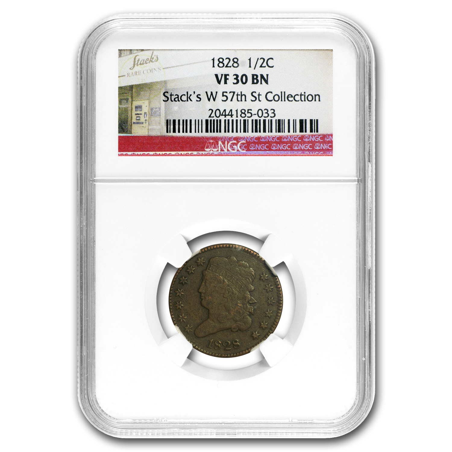 1828 Half Cent 13 Stars VF-30 NGC (Brown)