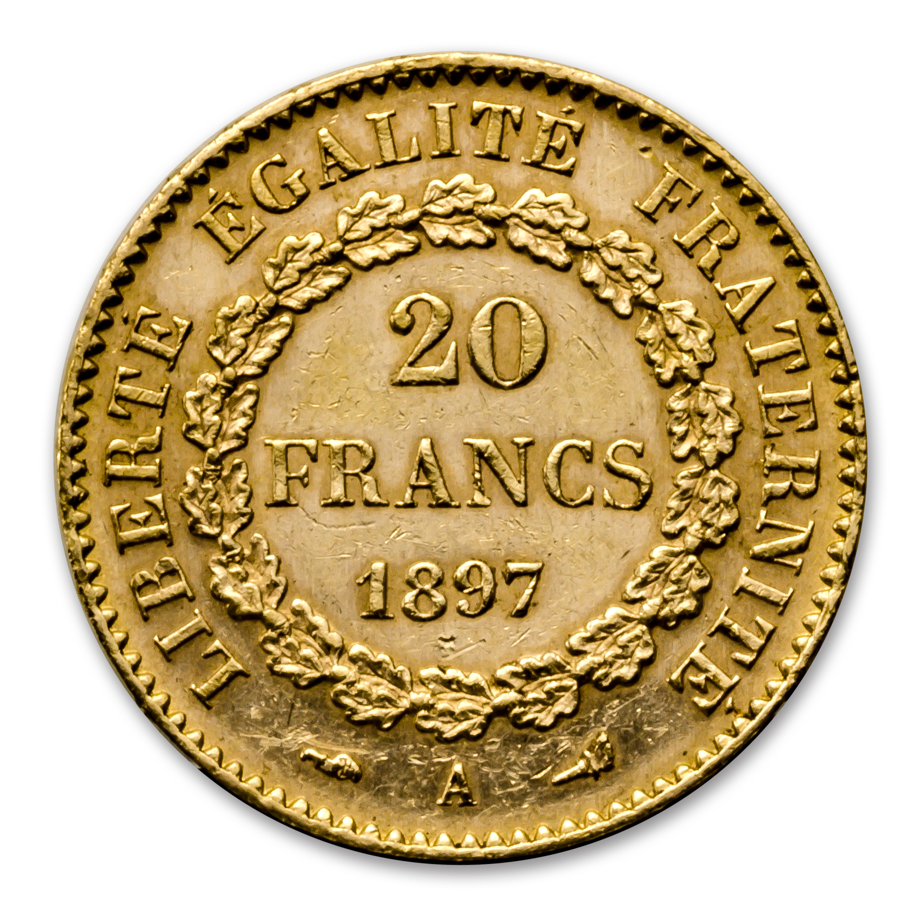 1871-1898 France Gold 20 Francs Lucky Angel XF-AU