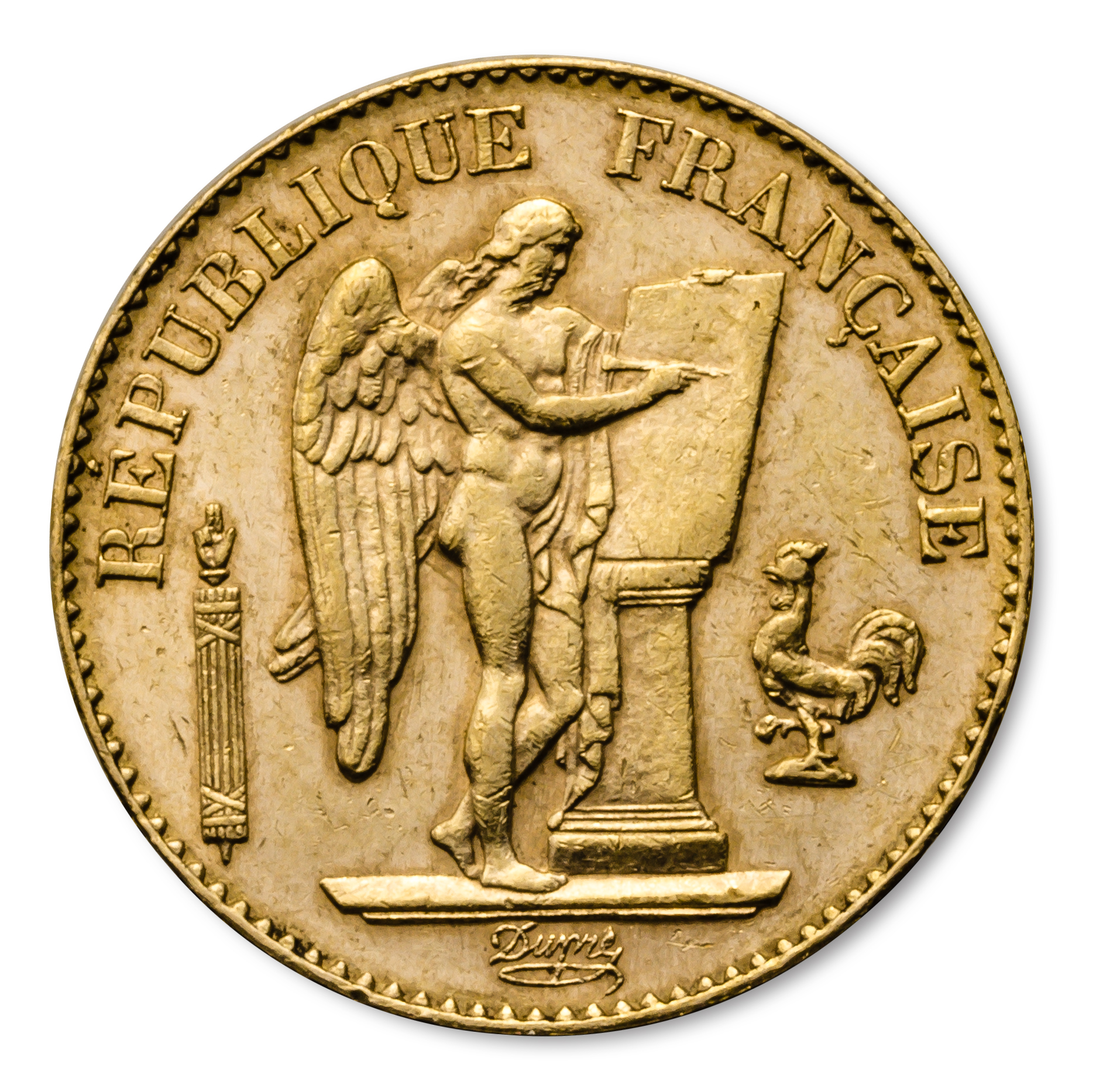 France Gold 20 Francs Lucky Angel Avg Circ