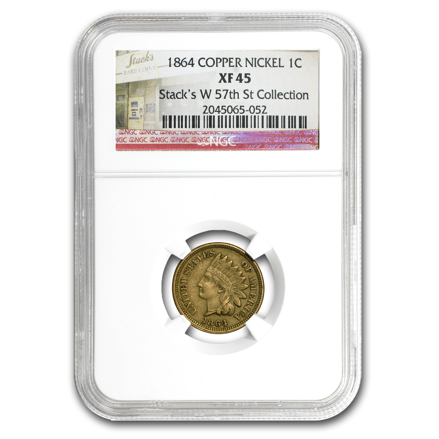 1864 Indian Head Cent XF-45 NGC (CN)
