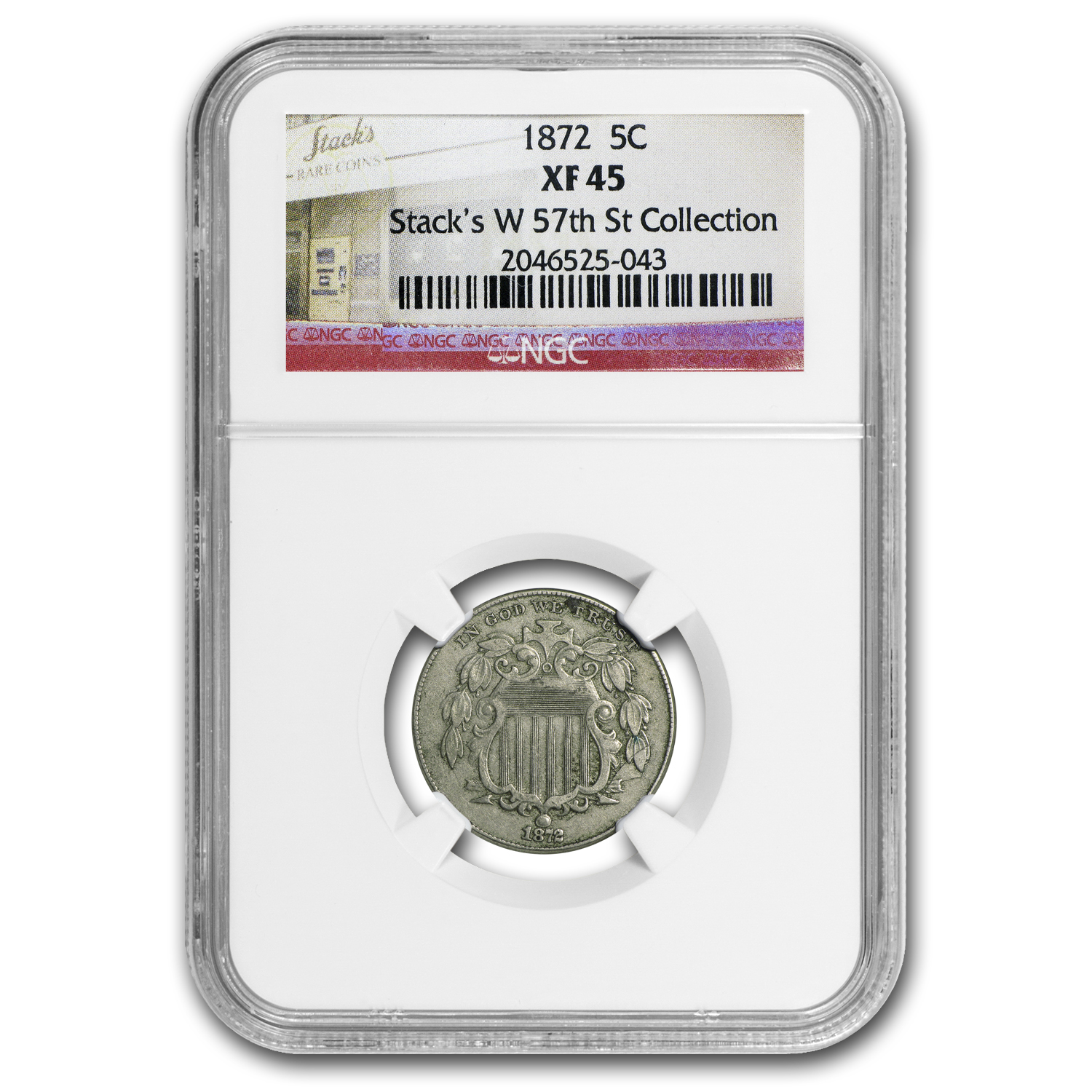1872 Shield Nickel XF-45 NGC
