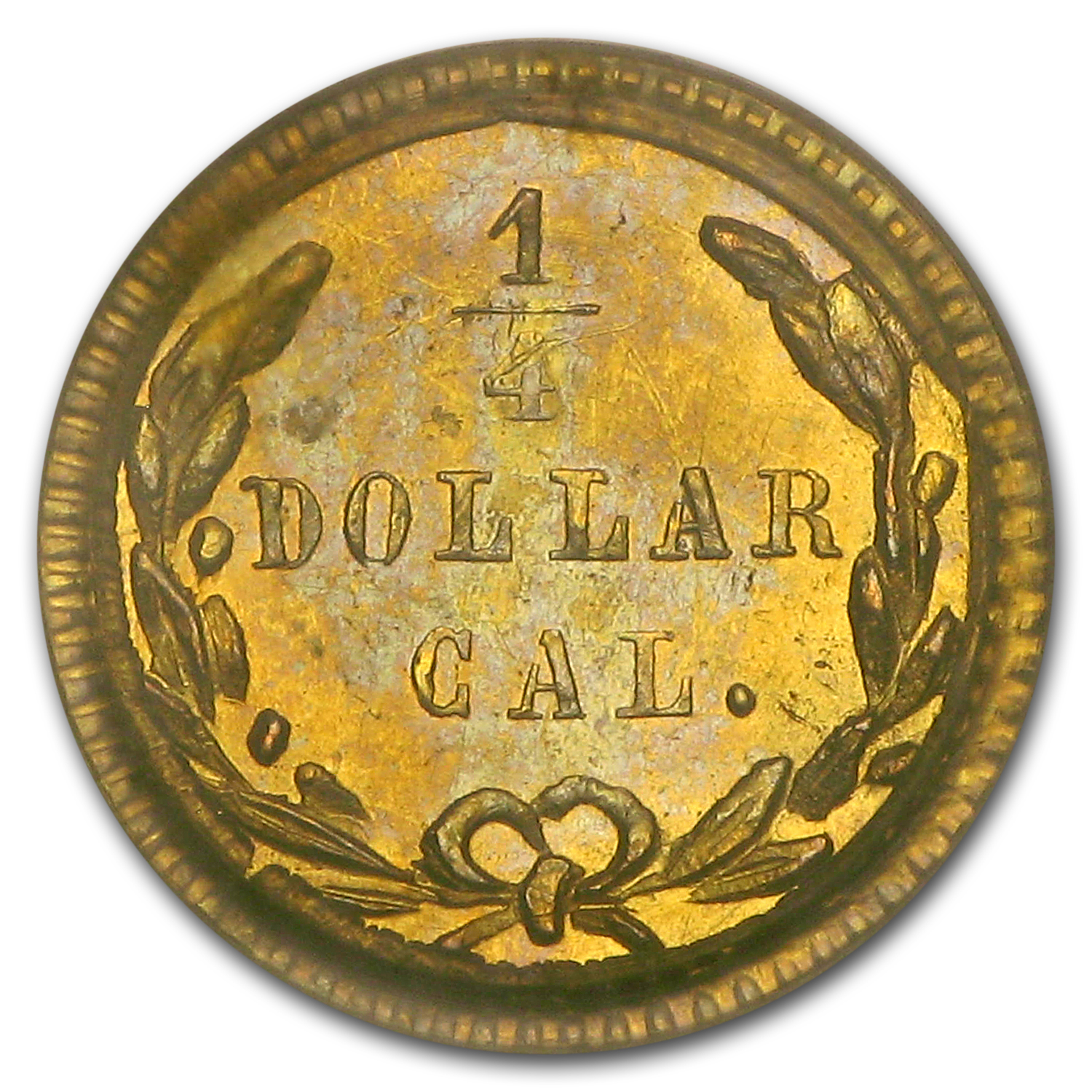 1871 BG-813 Liberty Round 25 Cent Gold MS-63 PCGS