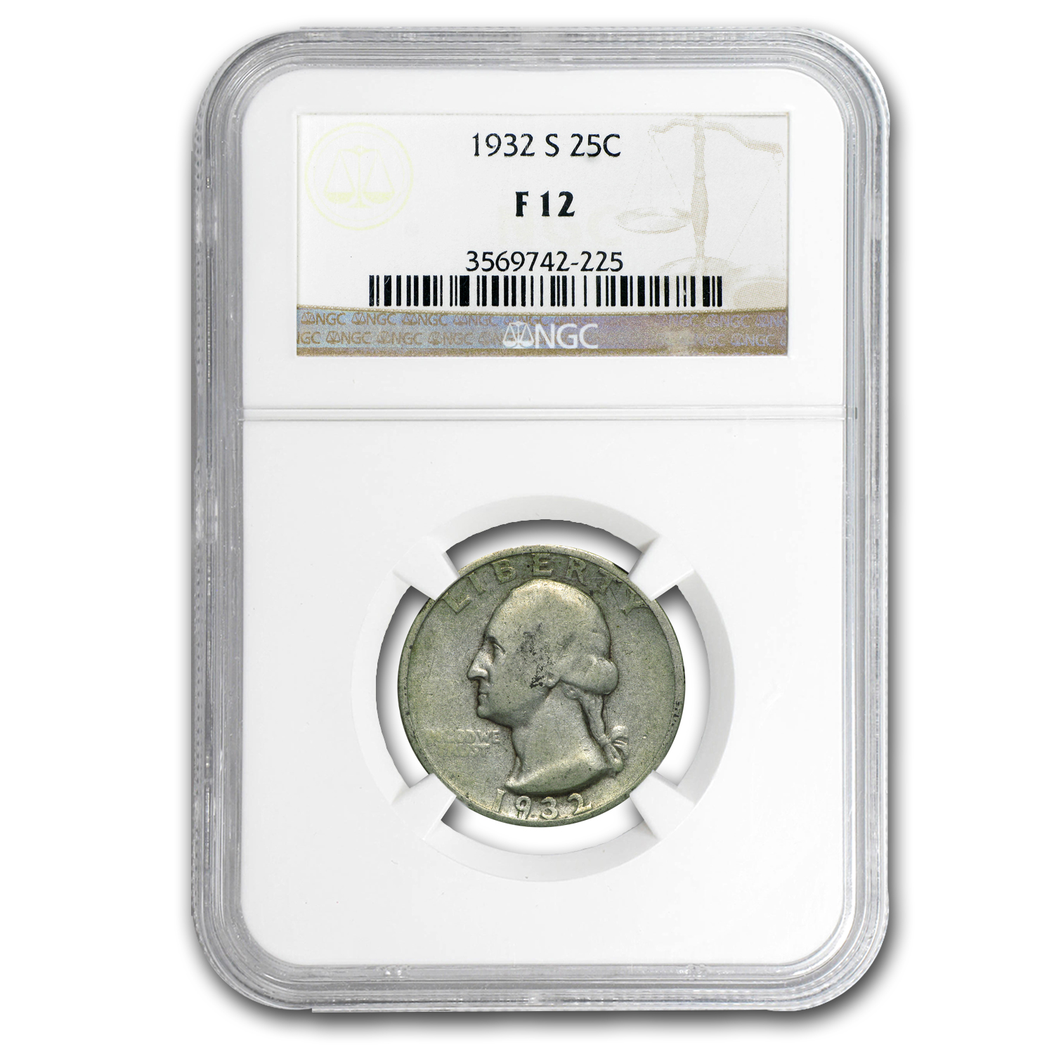 1932-S Washington Quarter F-12 NGC