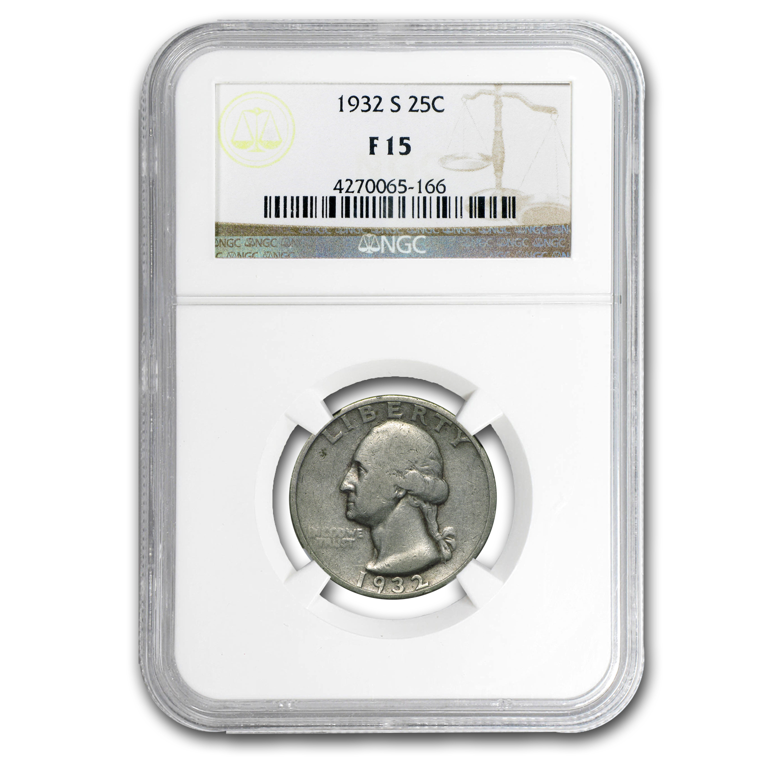 1932-S Washington Quarter F-15 NGC