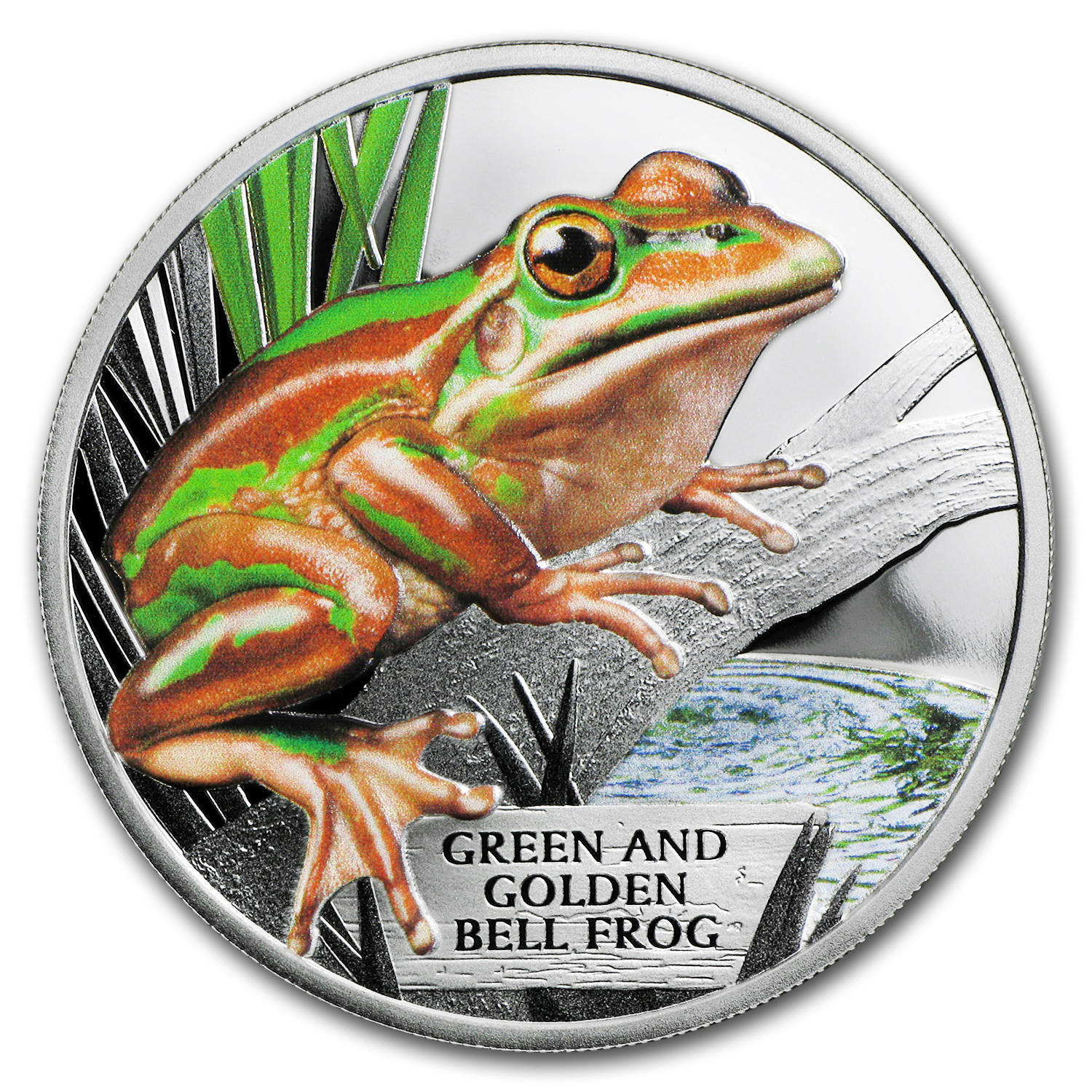 2017 Australia 1 oz Proof Silver Green and Golden Bell Frog