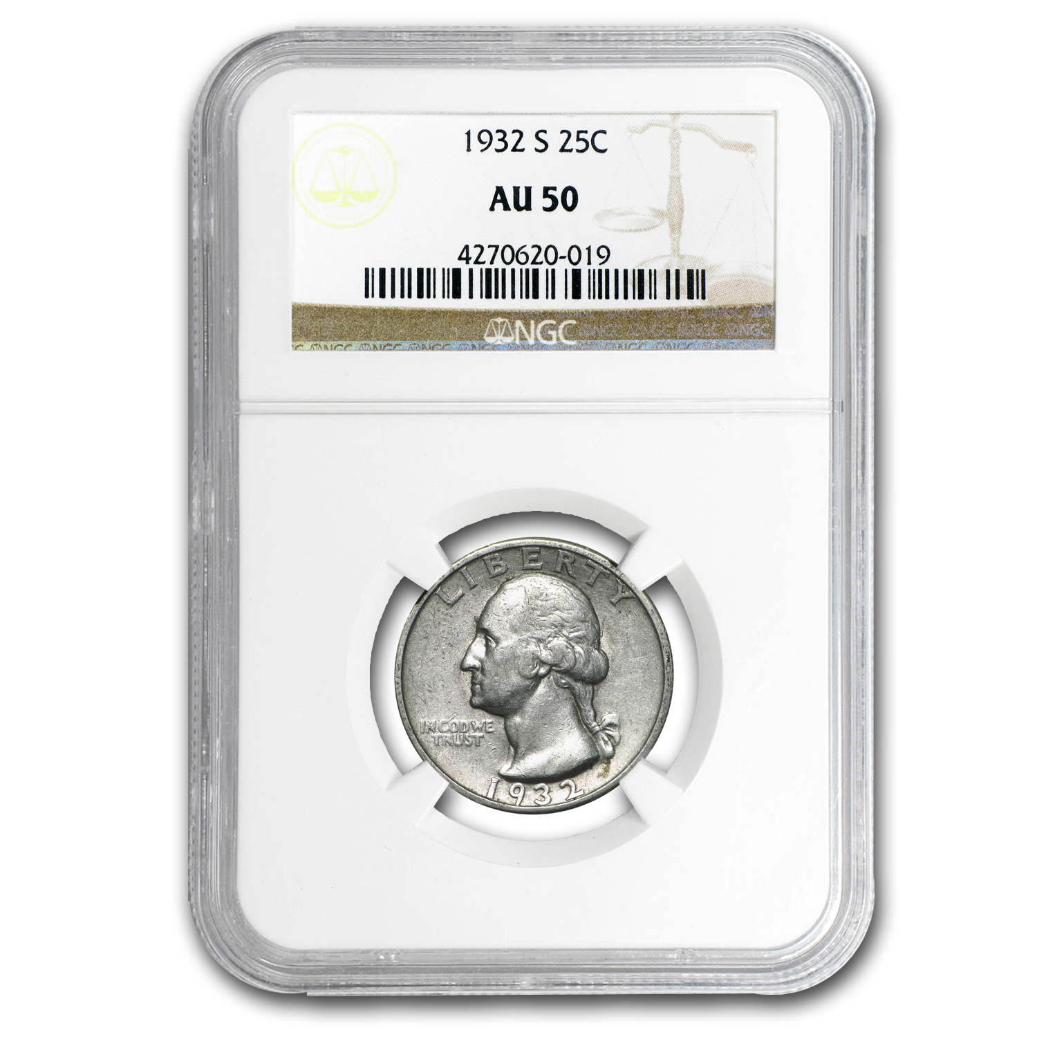 1932-S Washington Quarter AU-50 NGC