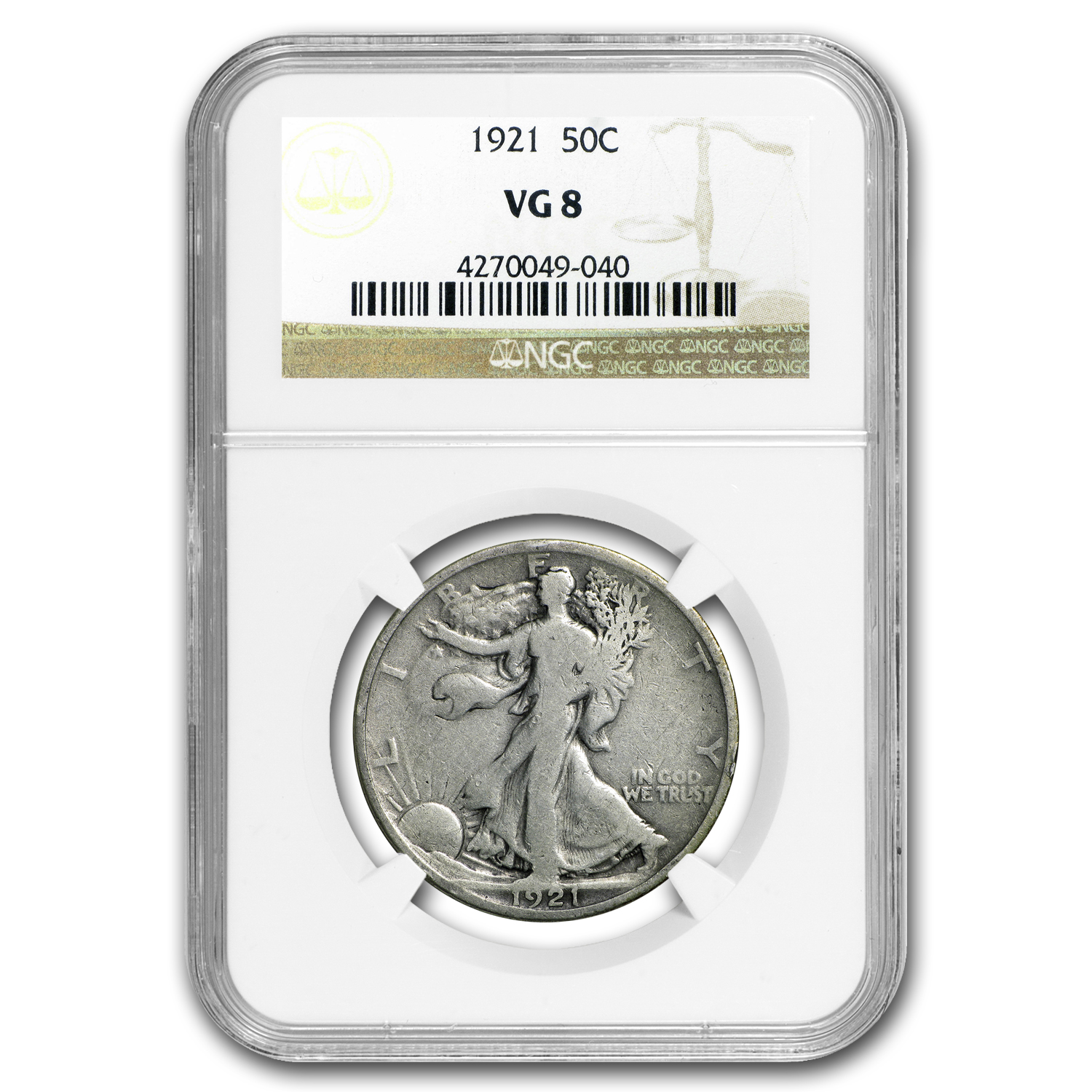 1921 Walking Liberty Half Dollar VG-8 NGC