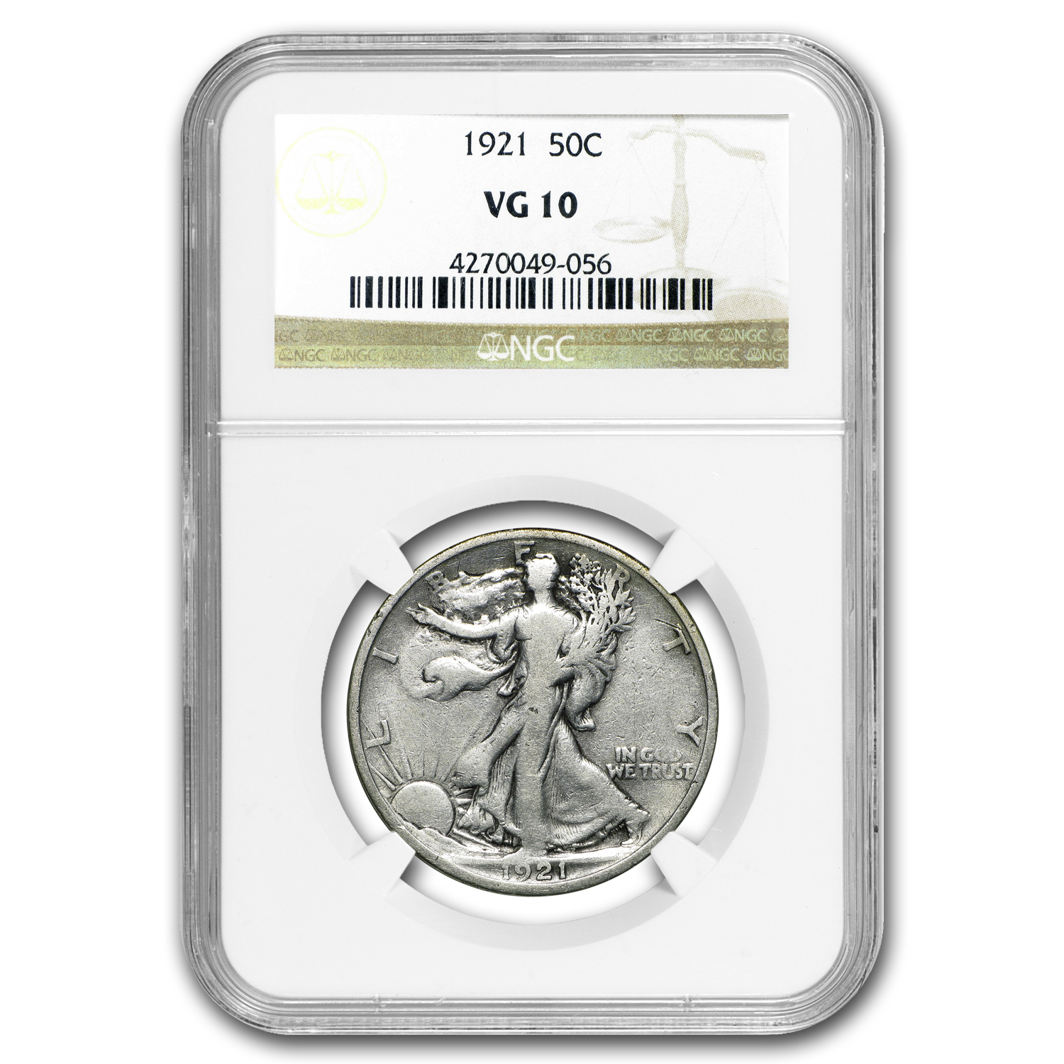 1921 Walking Liberty Half Dollar VG-10 NGC