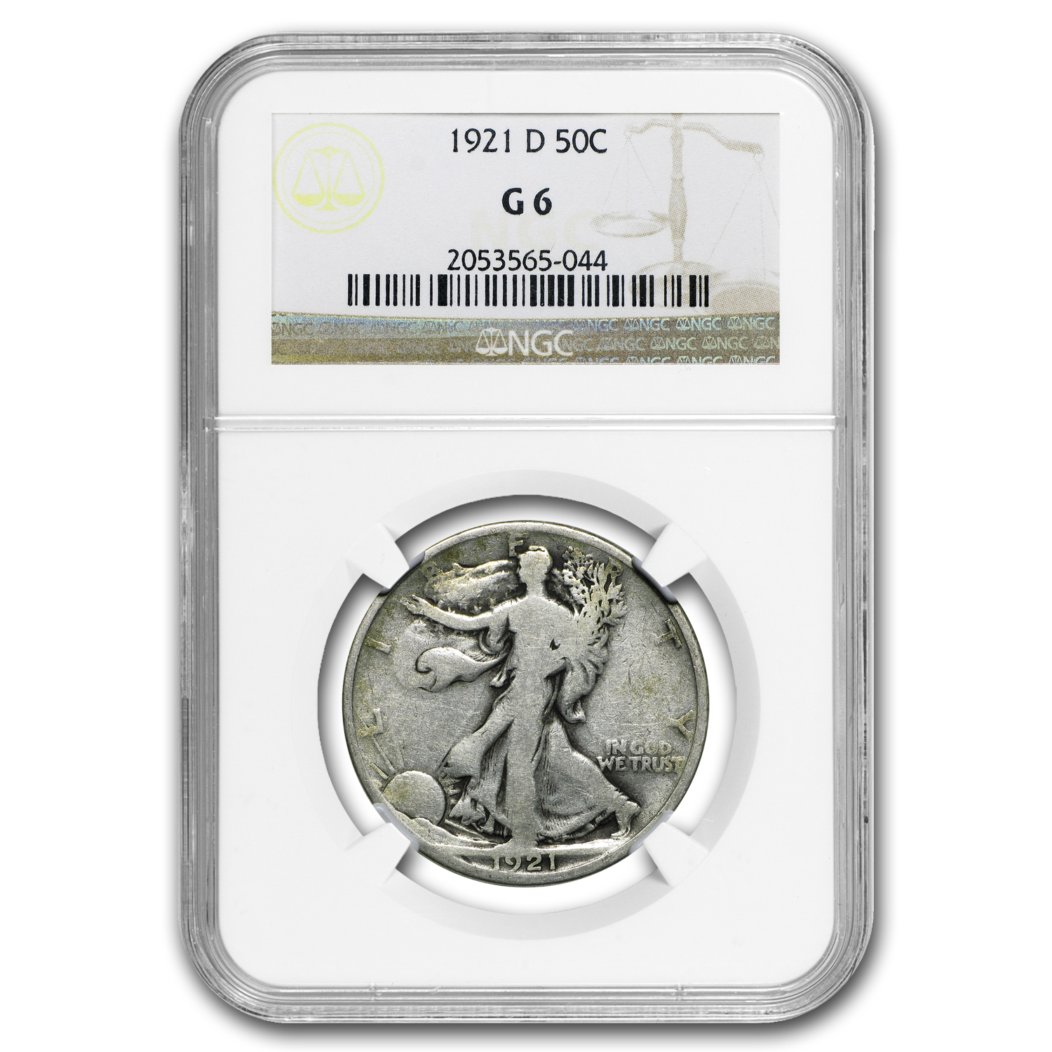 1921-D Walking Liberty Half Dollar Good-6 NGC