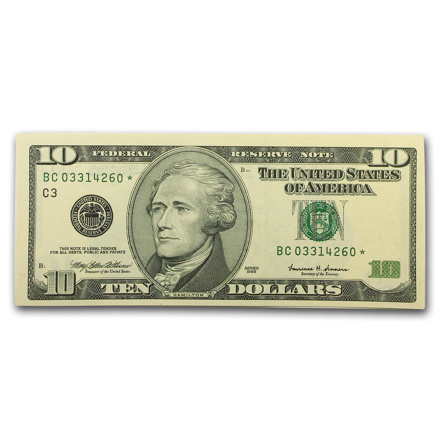 1999* (C-Philadelphia) $10 FRN GEM Crisp Unc (Star Note)