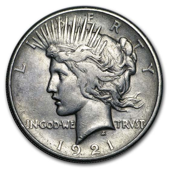 1921 Peace Dollar XF Details (High Relief, Cleaned)