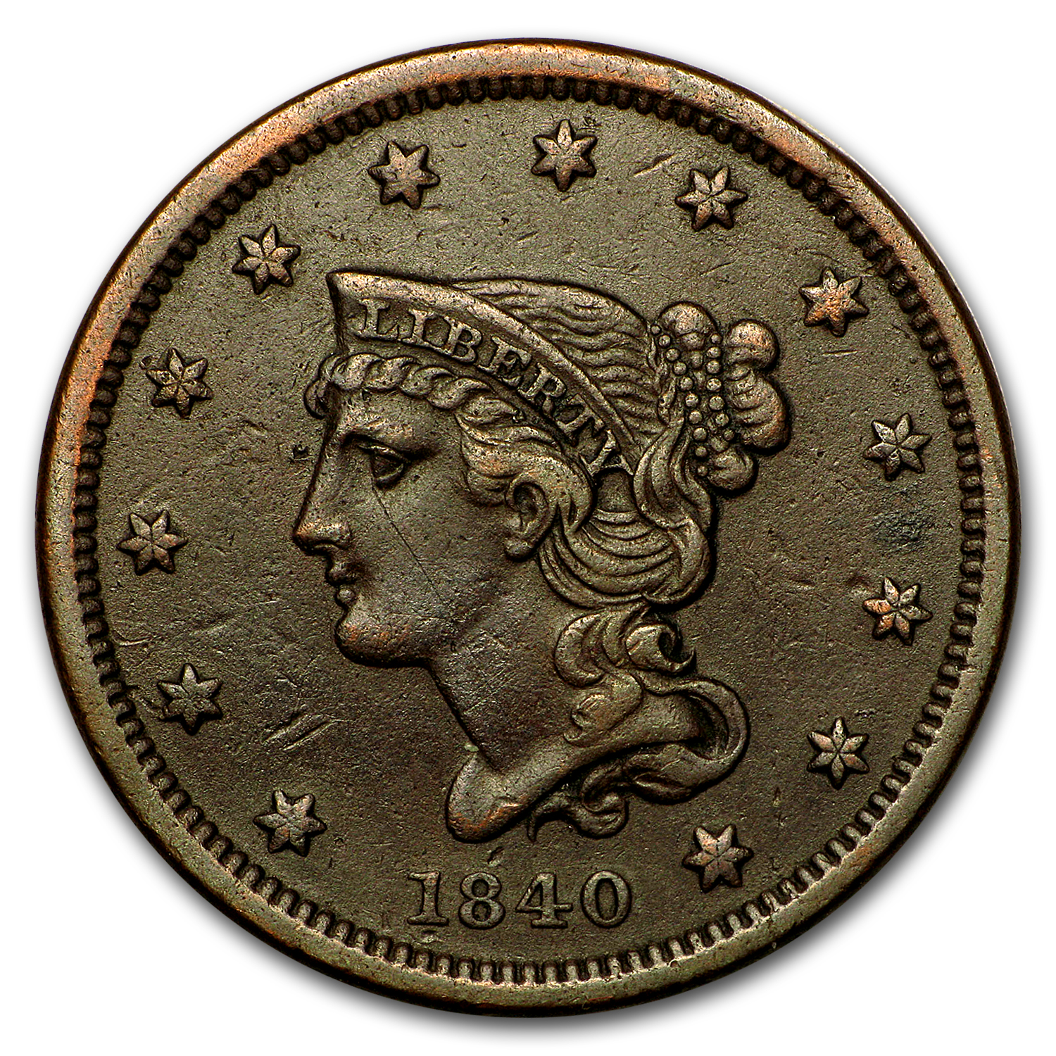 1840 Large Cent Sm Date XF