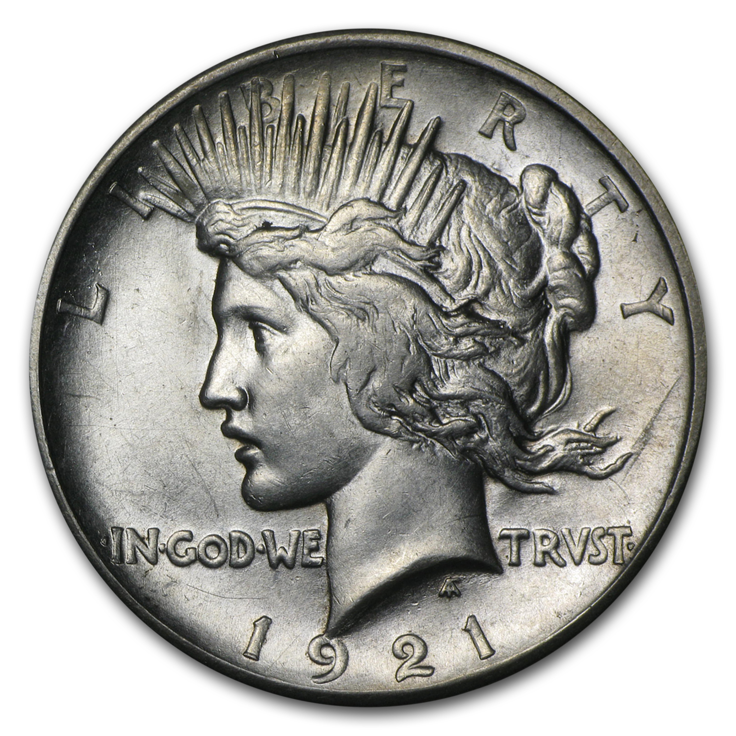 1921 Peace Dollar - Almost Uncirculated-58 - High Relief Style
