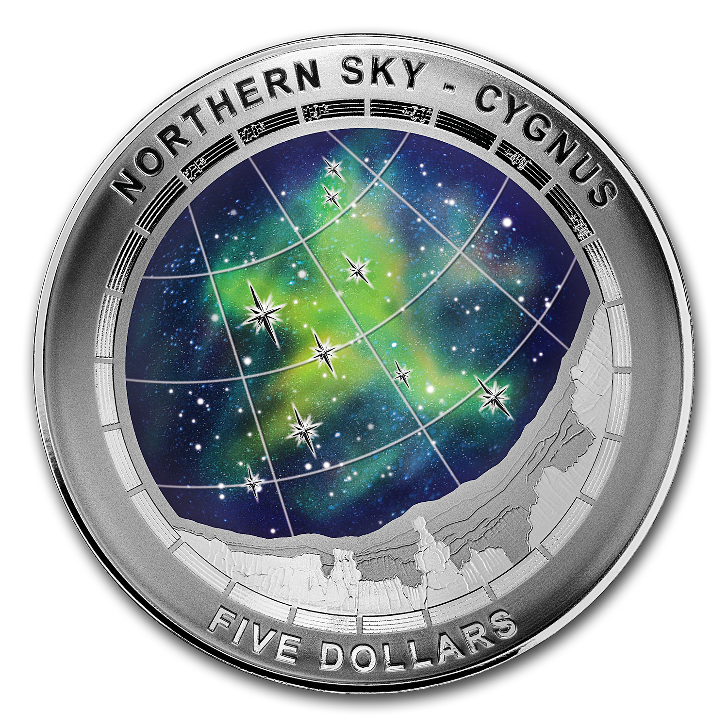 2016 Australia Silver $5 Color Domed Northern Sky Cygnus