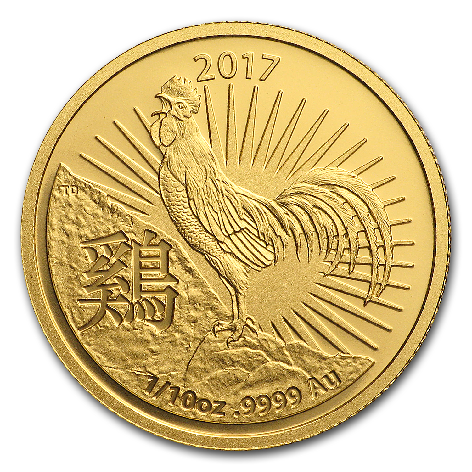 2017 Australia 1/10 oz Gold Lunar Year of the Rooster BU (RAM)