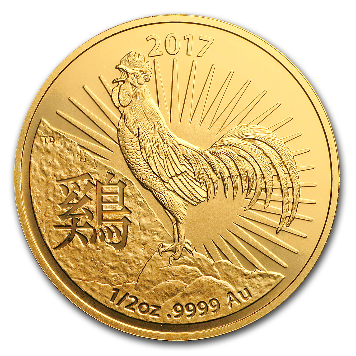 2017 Australia 1/2 oz Gold Lunar Year of the Rooster BU (RAM)