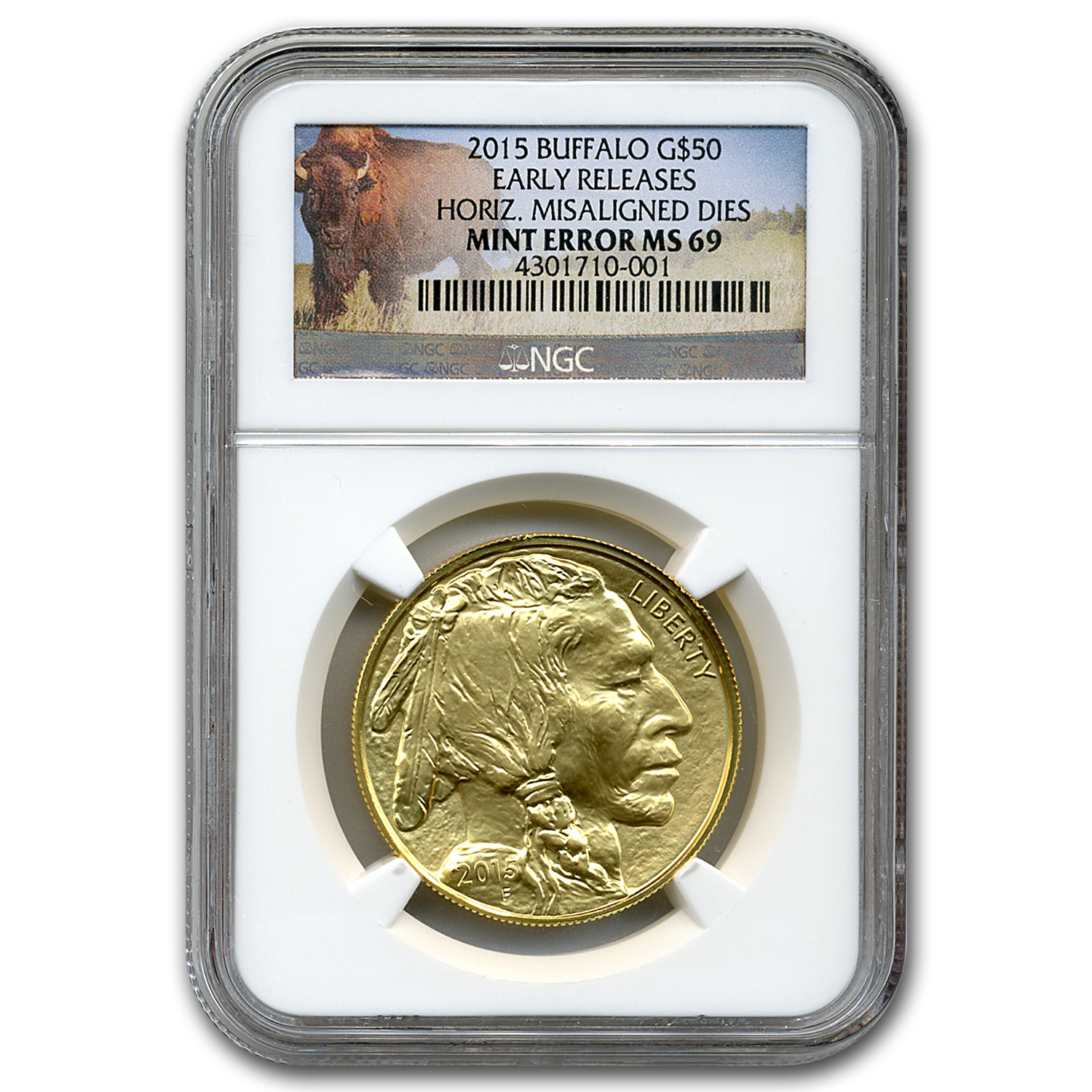 2015 1 oz Gold Buffalo MS-69 NGC (Horiz Misaligned Dies Error)
