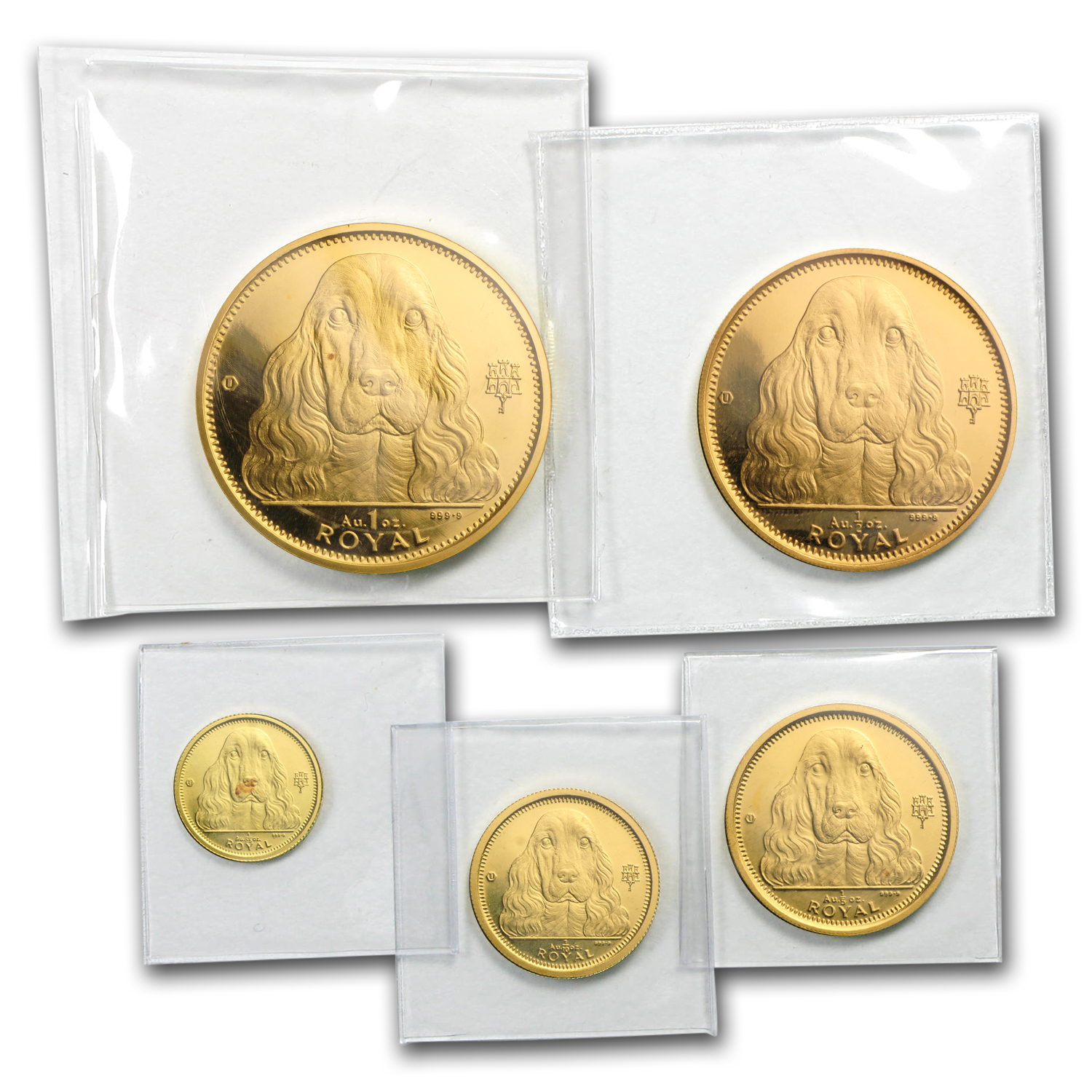 1992 Gibraltar 5-Coin Gold Royal Cocker Spaniel Set BU