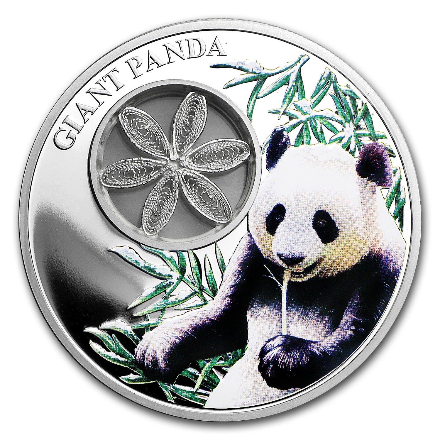 2017 Tokelau Proof 1 oz Silver Giant Panda (w/Filigree)