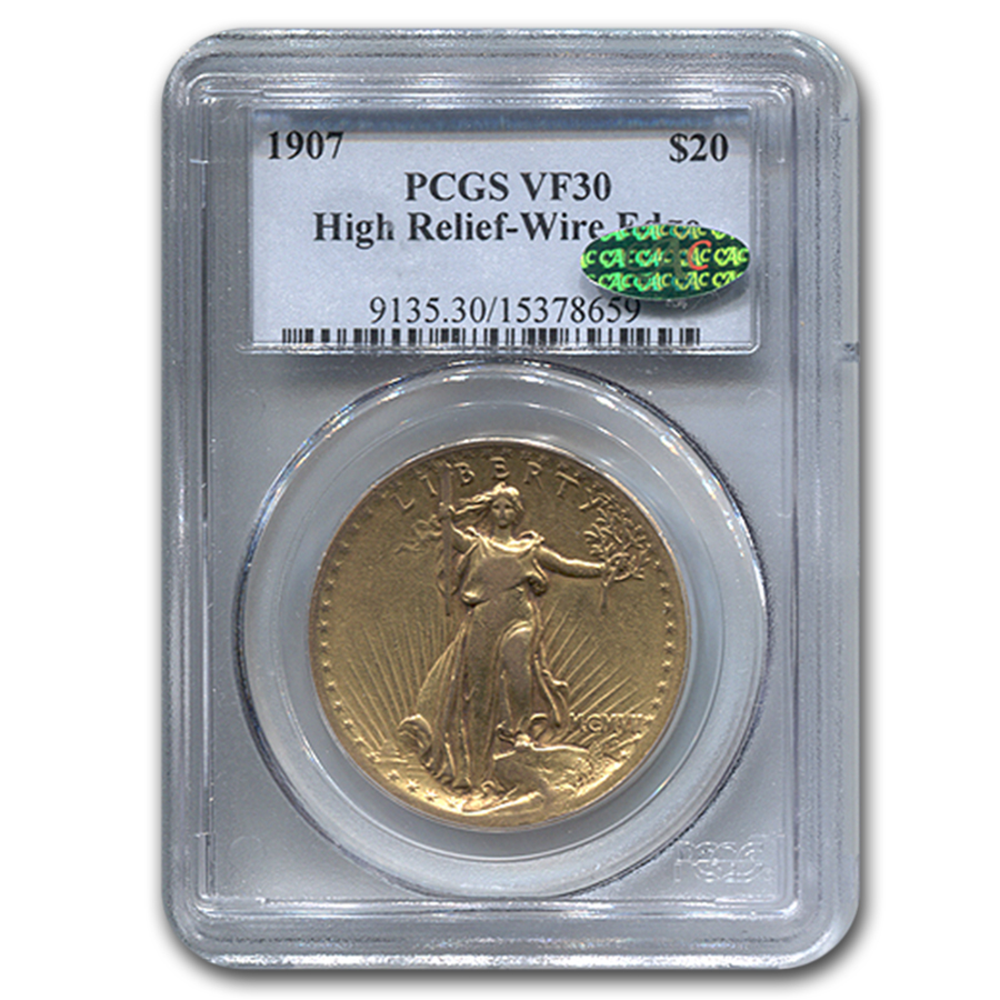 1907 $20 Saint-Gaudens Gold High Relief Wire Rim VF-30 PCGS CAC